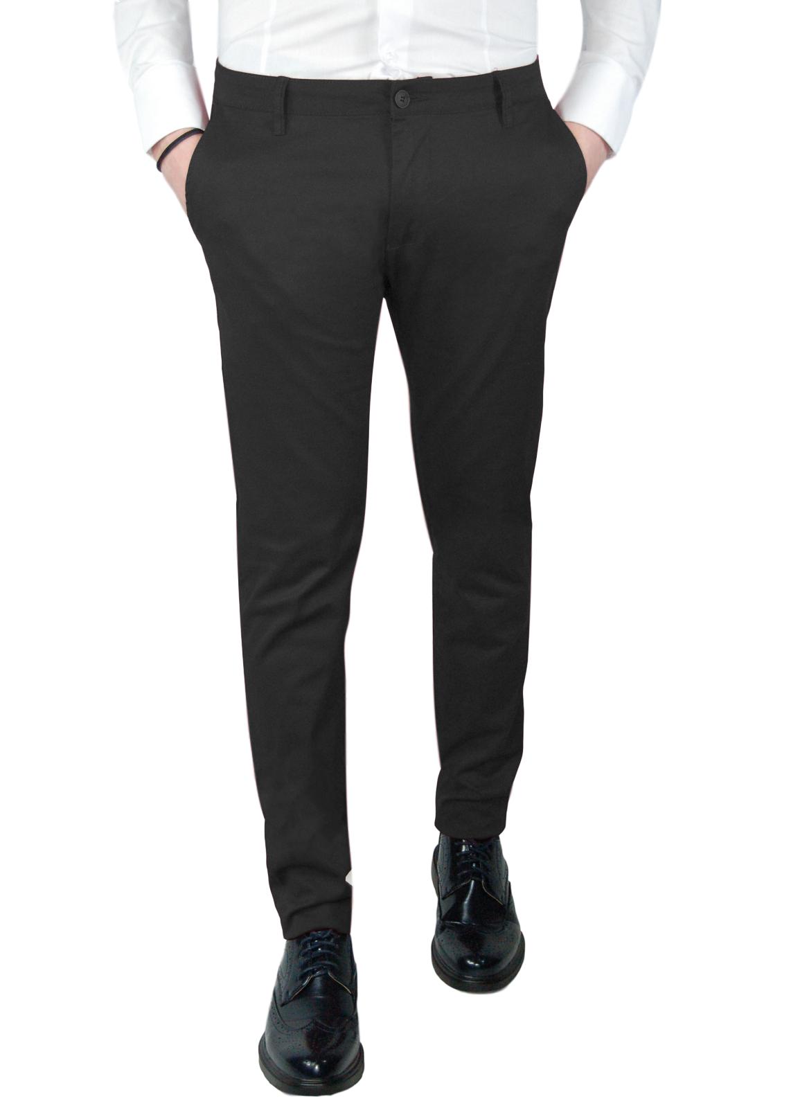 Pantalone-Uomo-Invernale-Slim-Fit-Chino-tasca-america-Cotone-Blu-Nero-Verde miniatura 12