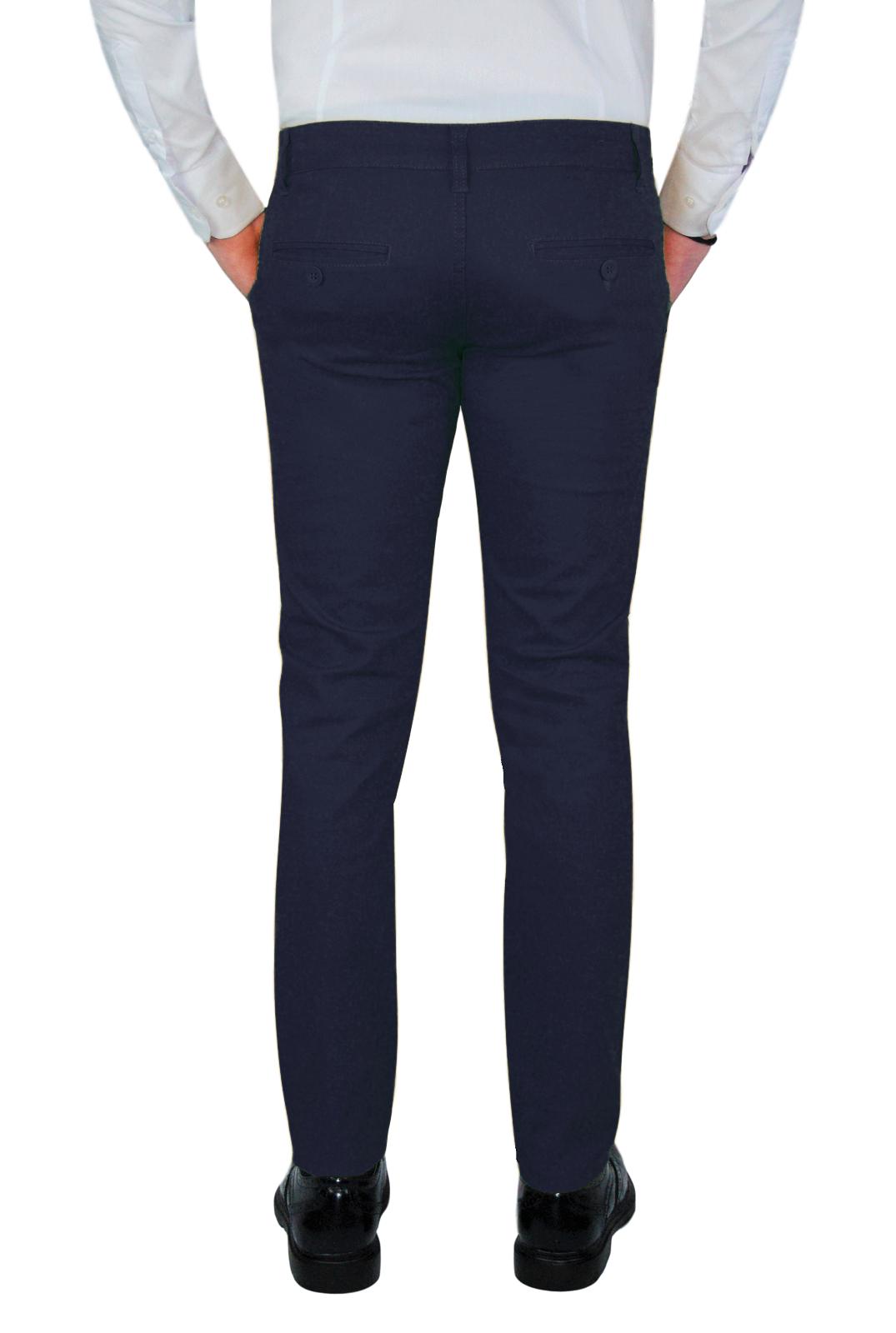 Pantalone-Uomo-Chino-Primaverile-slim-fit-Pantaloni-Eleganti-Blu-Verde-Nero miniatura 14