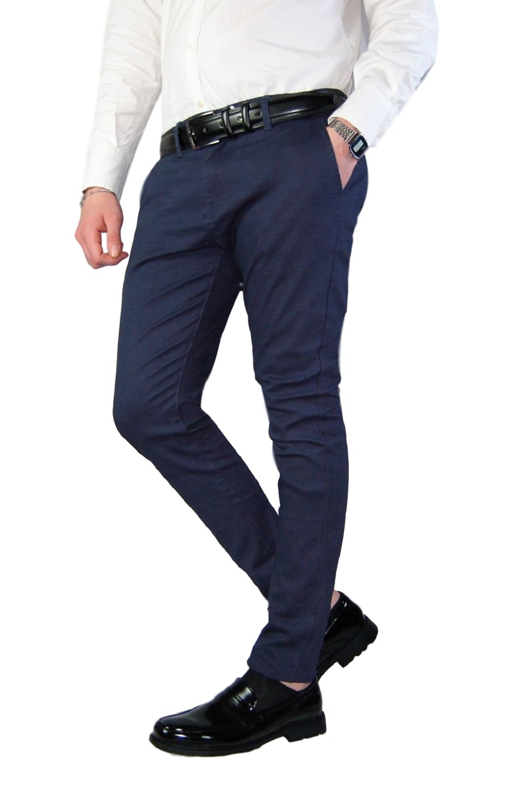 Pantalone-Uomo-Chino-Slim-Fit-Elegante-Quadri-Principe-di-Galles-Primaverile miniatura 10