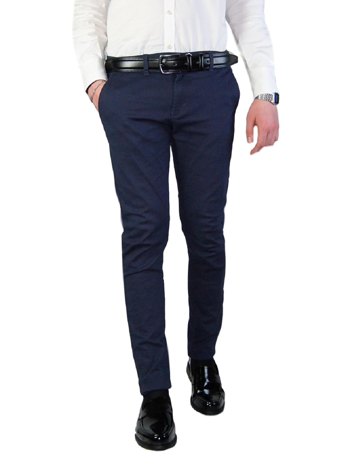 Pantalone-Uomo-Chino-Slim-Fit-Elegante-Quadri-Principe-di-Galles-Primaverile miniatura 11
