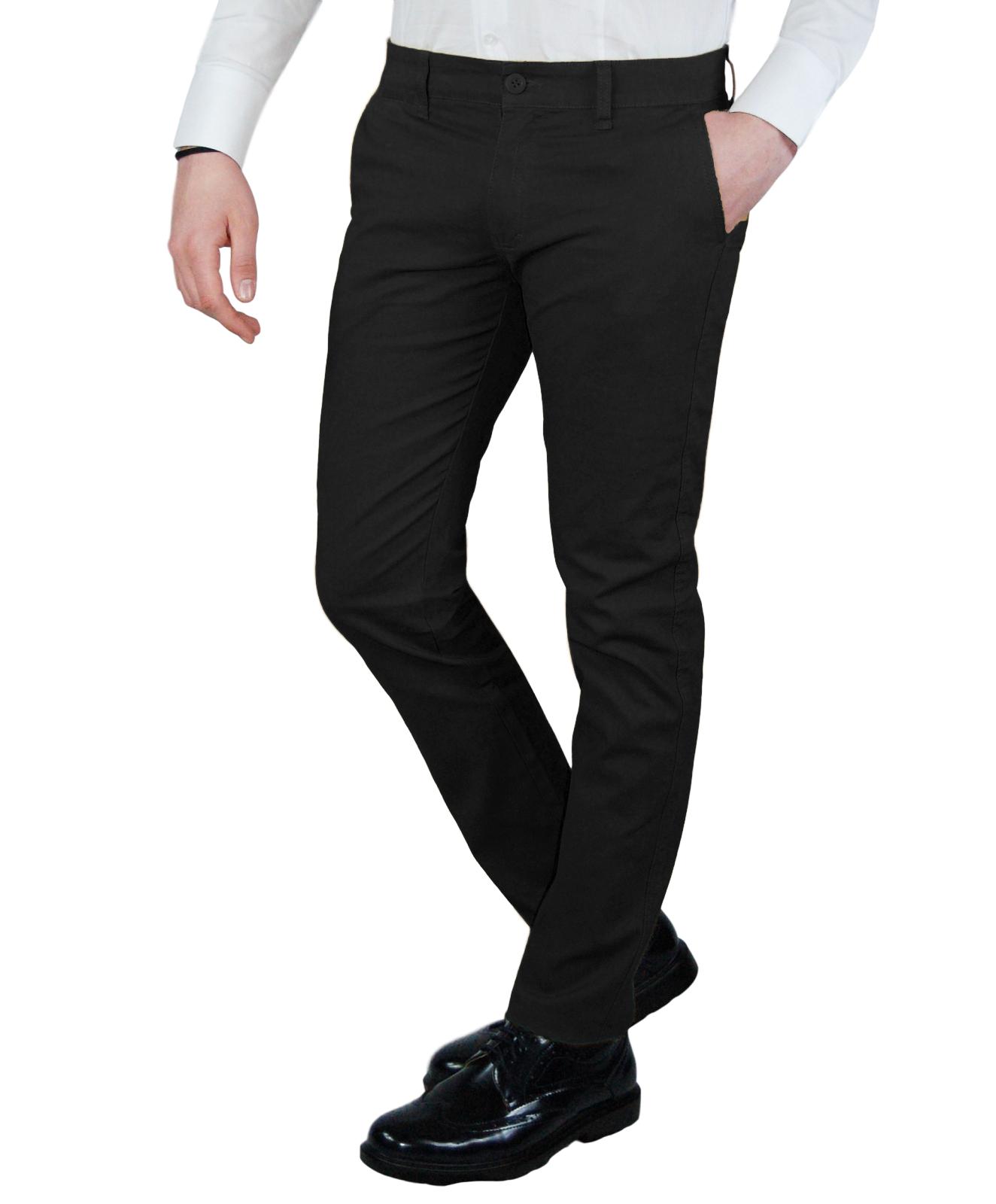 Pantalone-Uomo-Primaverile-Slim-Fit-Chino-tasca-america-Cotone-Blu-Nero-Verde miniatura 16