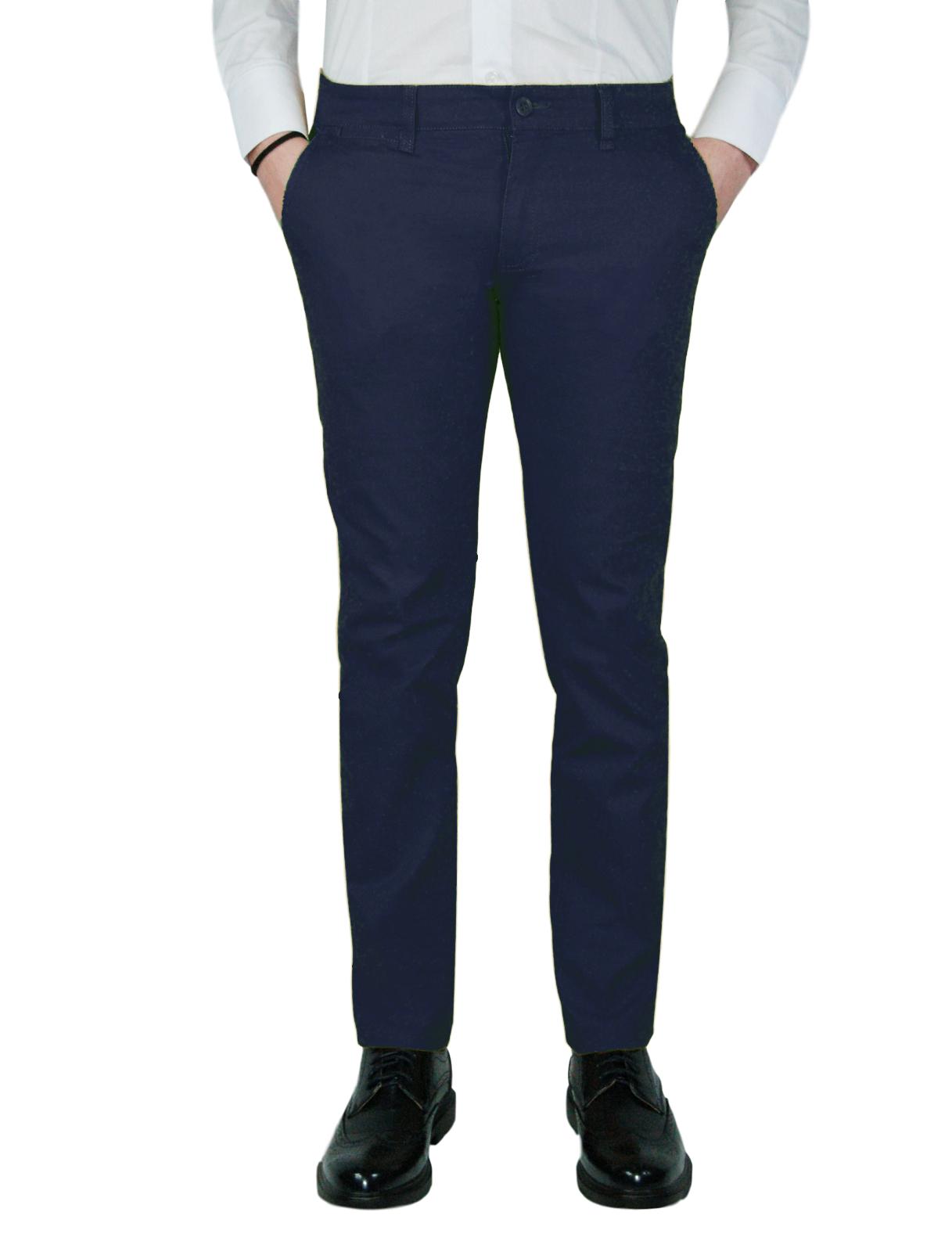 Pantalone-Uomo-Chino-Primaverile-slim-fit-Pantaloni-Eleganti-Blu-Verde-Nero miniatura 16