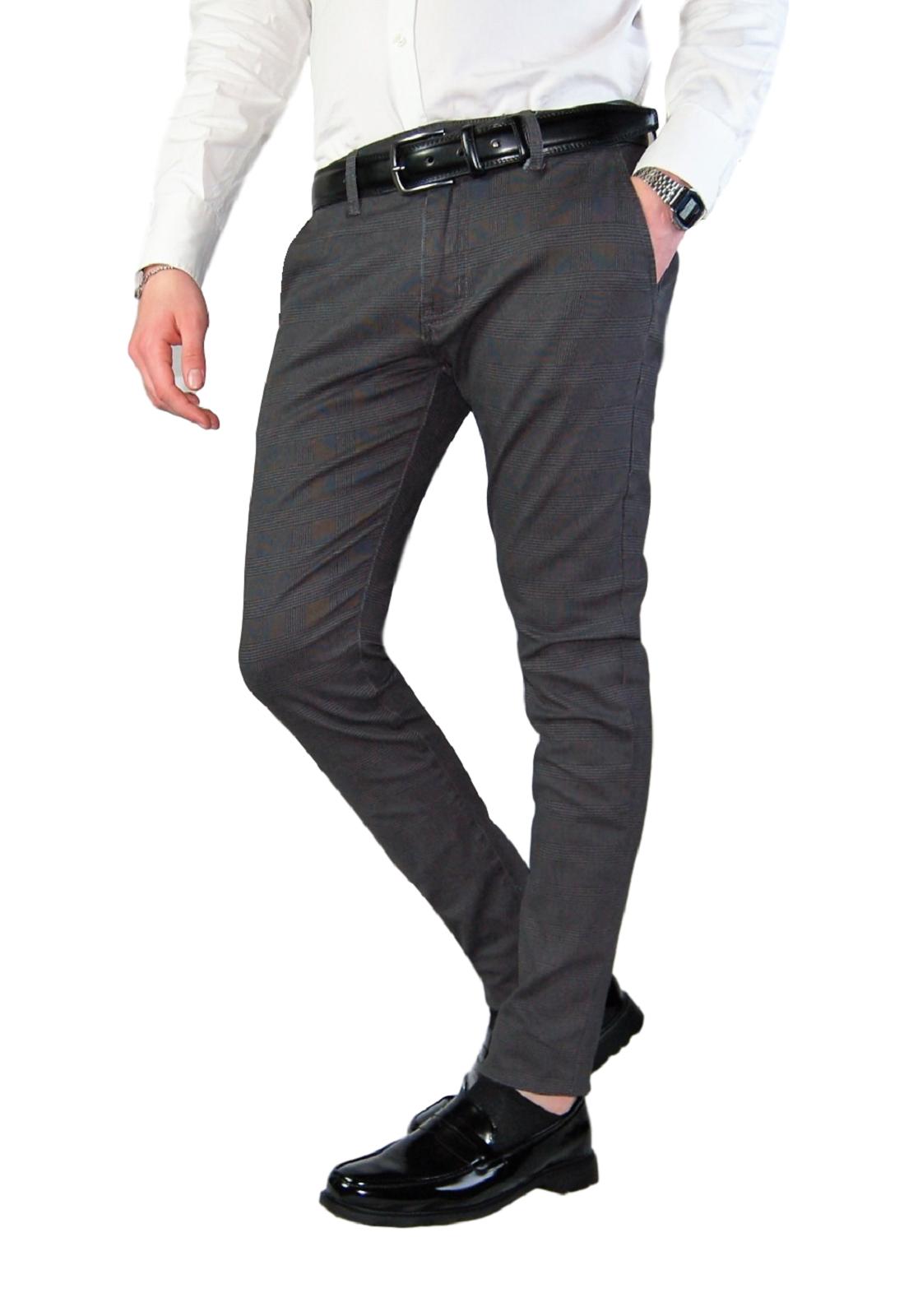 Pantalone-Uomo-Chino-Slim-Fit-Elegante-Quadri-Principe-di-Galles-Primaverile miniatura 13