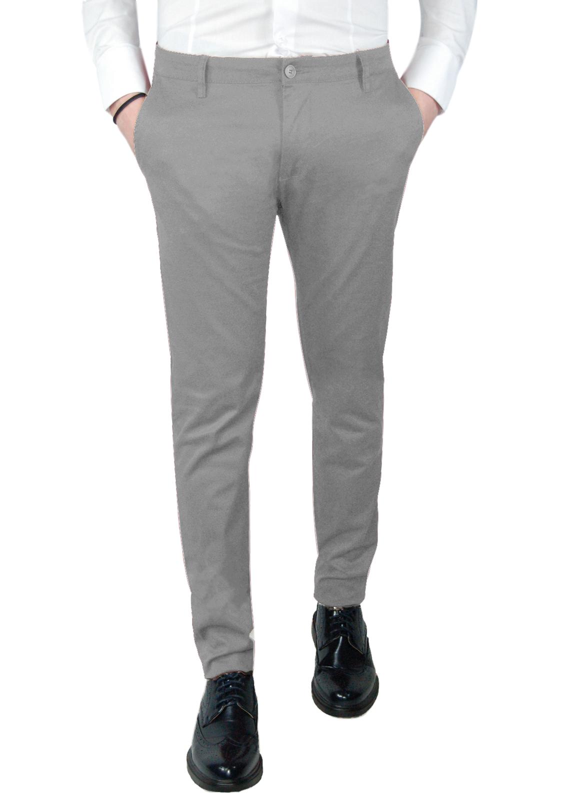 Pantalone-Uomo-Chino-Nero-Bianco-Primaverile-slim-fit-tasca-america-Primavera miniatura 19