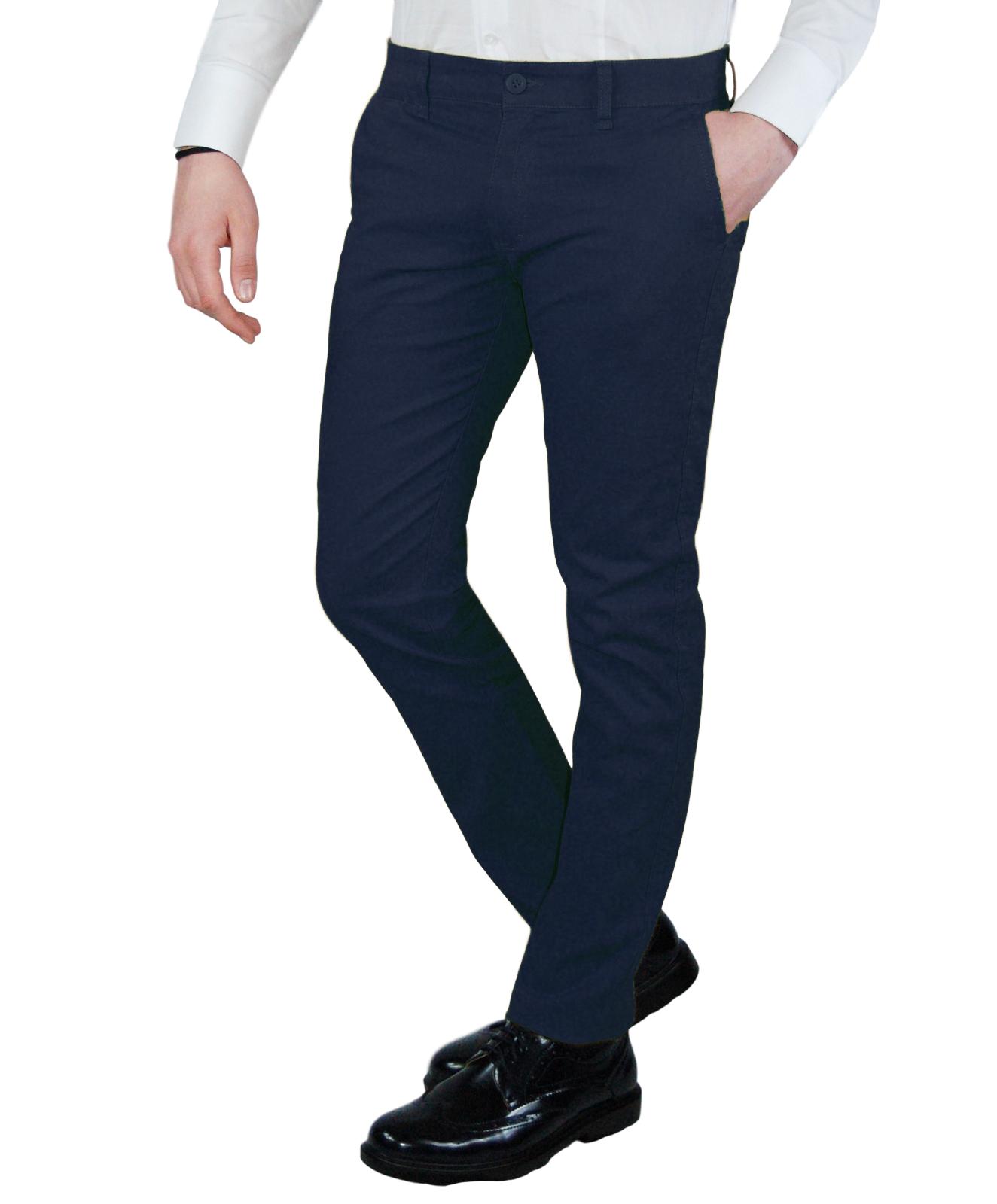 Pantalone-Uomo-Invernale-Slim-Fit-Chino-tasca-america-Cotone-Blu-Nero-Verde miniatura 18