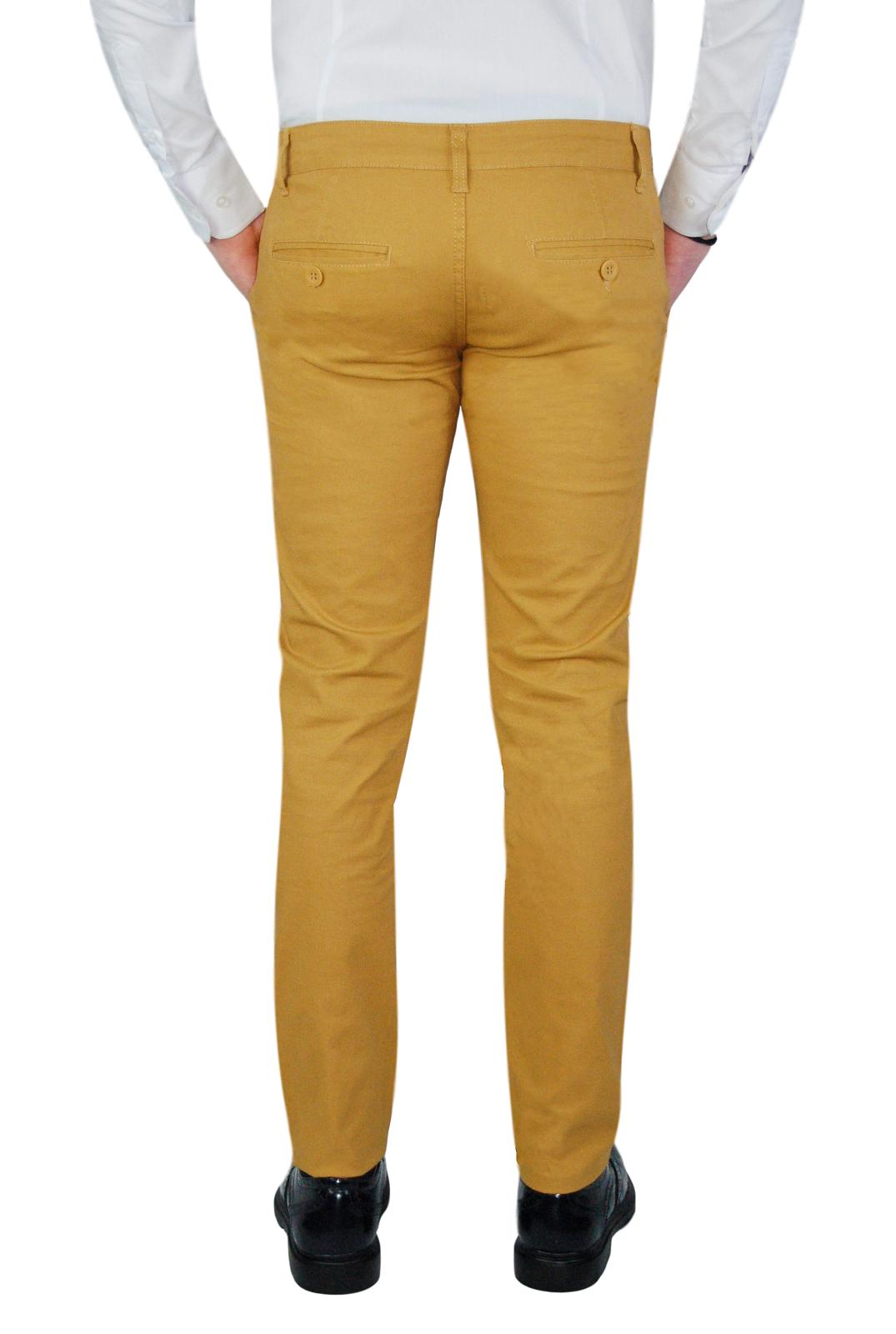 Pantalone-Uomo-Chino-Slim-fit-Primaverile-tasca-america-Bianco-Grigio-Senape-Bei miniatura 23
