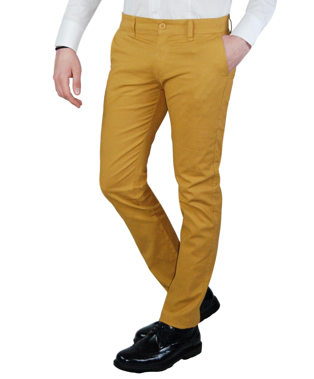 Pantalone-Uomo-Chino-Slim-fit-Primaverile-tasca-america-Bianco-Grigio-Senape-Bei miniatura 24