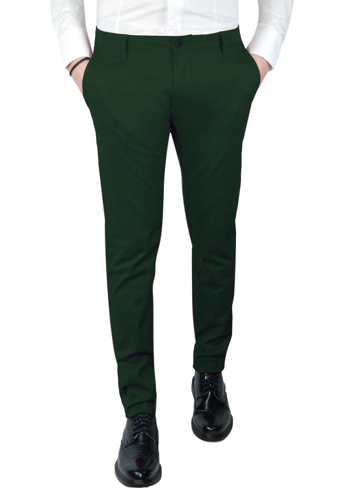Pantalone-Uomo-Primaverile-Slim-Fit-Chino-tasca-america-Cotone-Blu-Nero-Verde miniatura 22