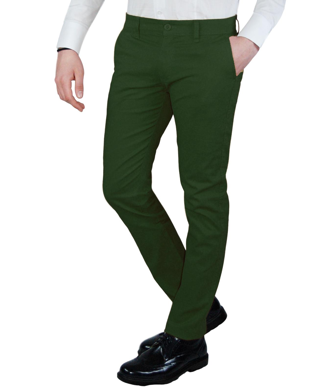 Pantalone-Uomo-Invernale-Slim-Fit-Chino-tasca-america-Cotone-Blu-Nero-Verde miniatura 22