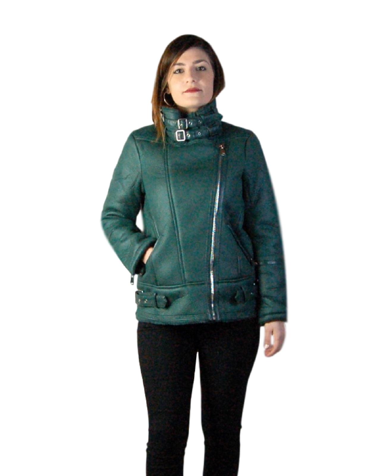 Giubbotto-Donna-Pelliccia-Giubbino-Caldo-Invernale-Imbottito-Casual-parka-Verde miniatura 16