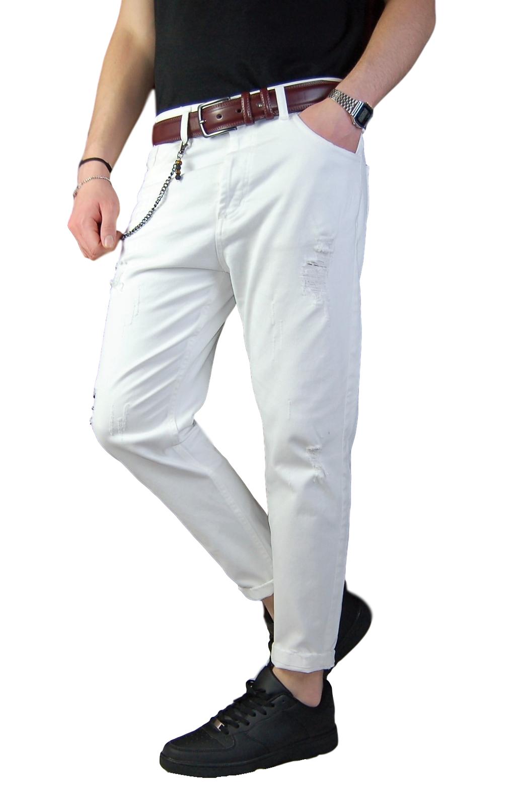 Pantalone-Uomo-Strappato-Slim-fit-Primaverile-Pantaloni-Jeans-Strappati miniatura 8