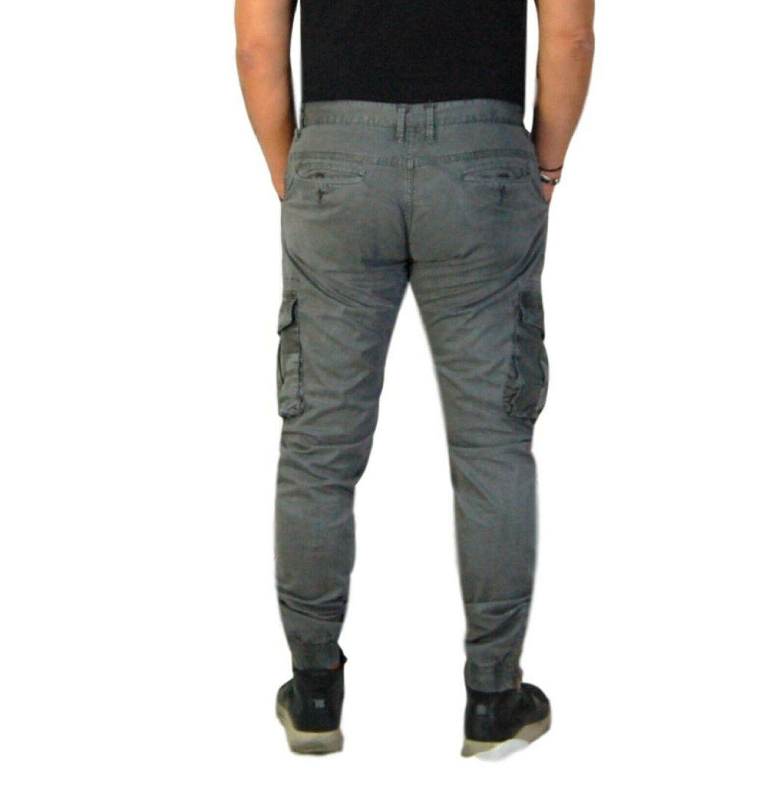 Pantalone-Uomo-Casual-Cargo-Con-Tasconi-Laterali-Mimetici-Multi-Tasche-Cotone-Ve miniatura 8