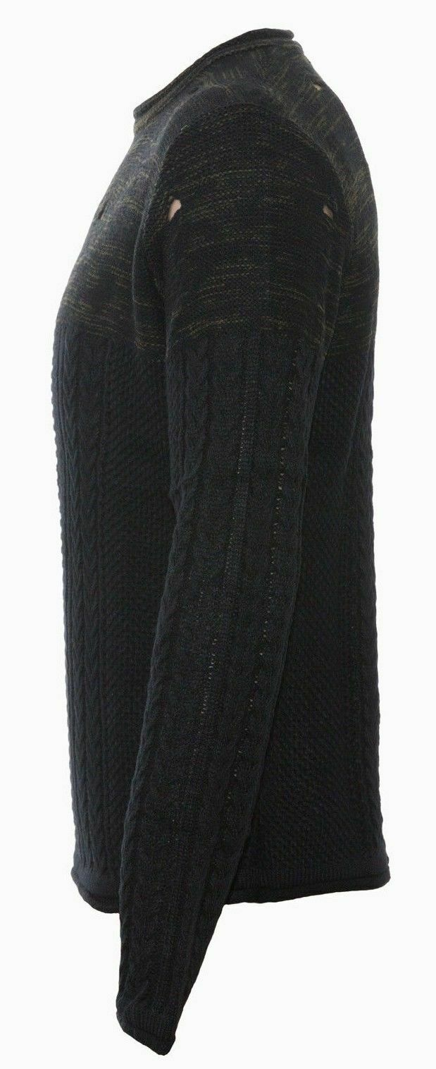 Maglione-uomo-Slim-Fit-Maglioncino-Invernale-Girocollo-Maglia-Cotone-Casual-Nero miniatura 10