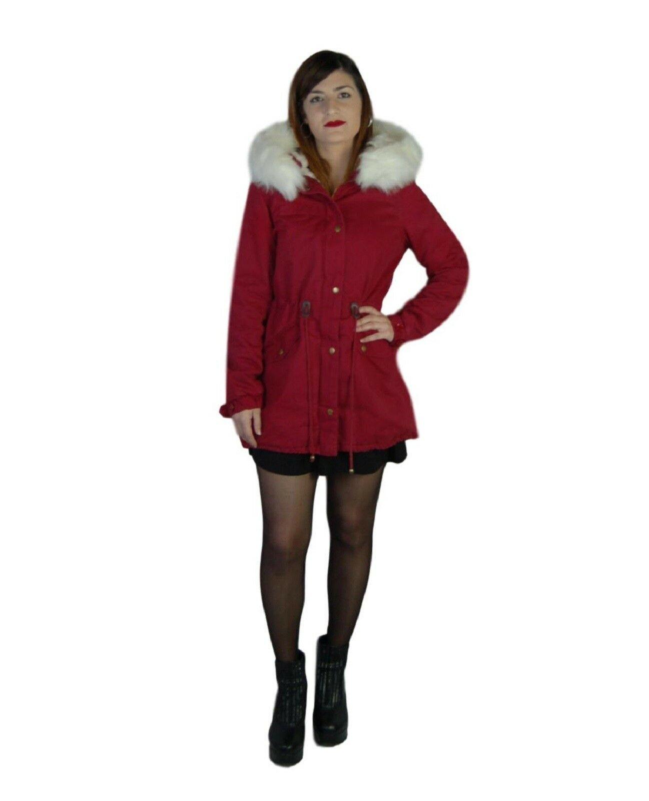 Parka-donna-Invernale-Giubbotto-cappuccio-pelliccia-Cappotto-Lungo-SLIM-fit-nero miniatura 12