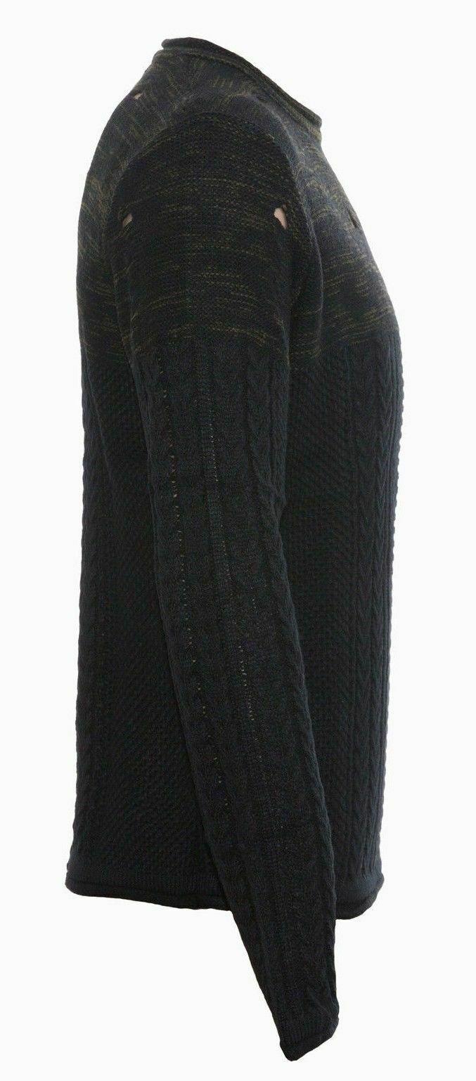 Maglione-uomo-Slim-Fit-Maglioncino-Invernale-Girocollo-Maglia-Cotone-Casual-Nero miniatura 11
