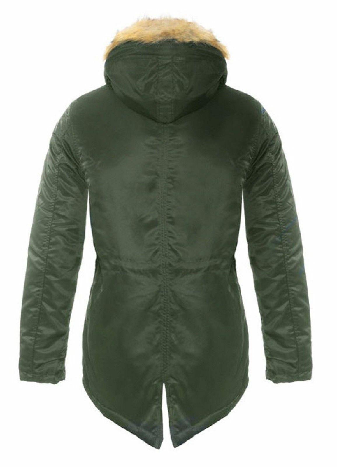 Parka-Uomo-Invernale-Giubbotto-Canadian-Pelliccia-Cappuccio-Blu-Verde miniatura 14