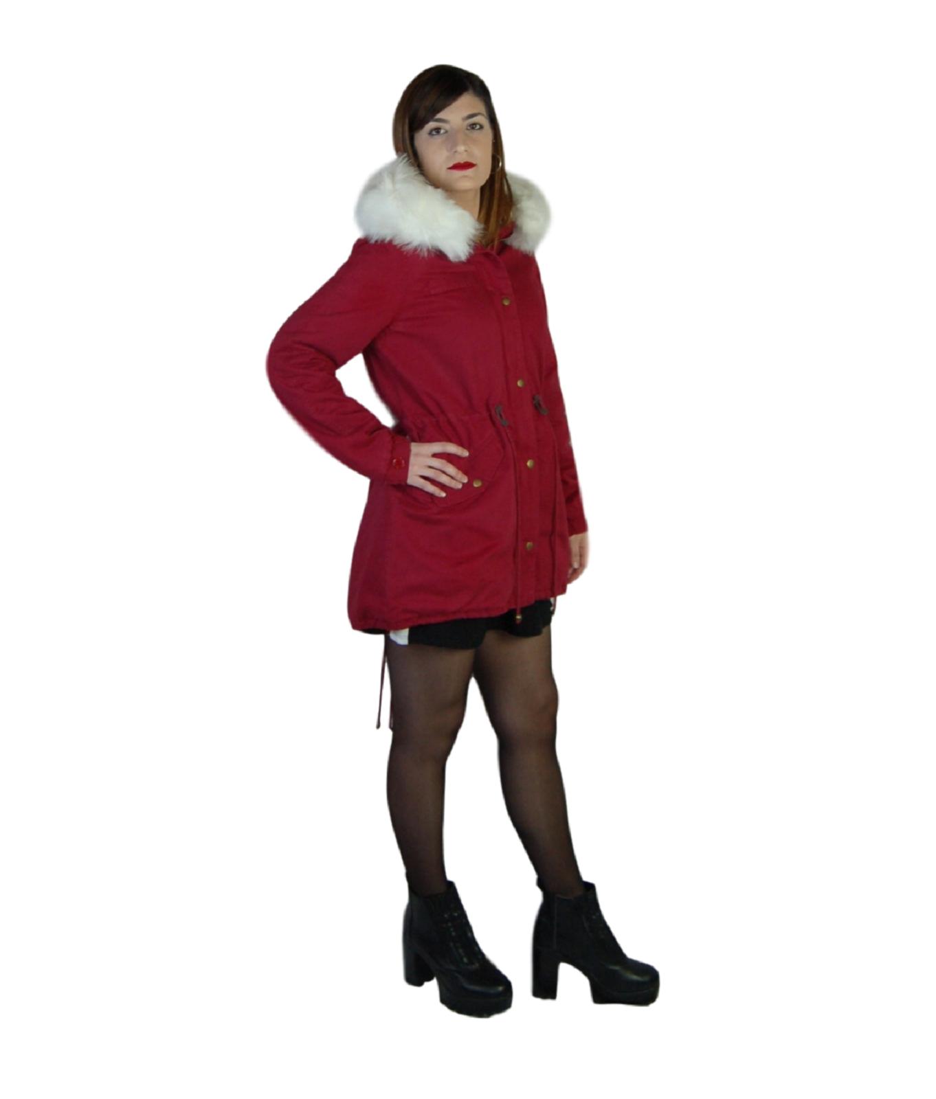 Parka-donna-Invernale-Giubbotto-cappuccio-pelliccia-Cappotto-Lungo-SLIM-fit-nero miniatura 14
