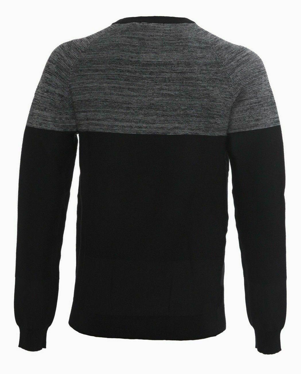 Maglione-uomo-Slim-Fit-Maglioncino-Girocollo-Cardigan-Casual-Grigio-Nero miniatura 16