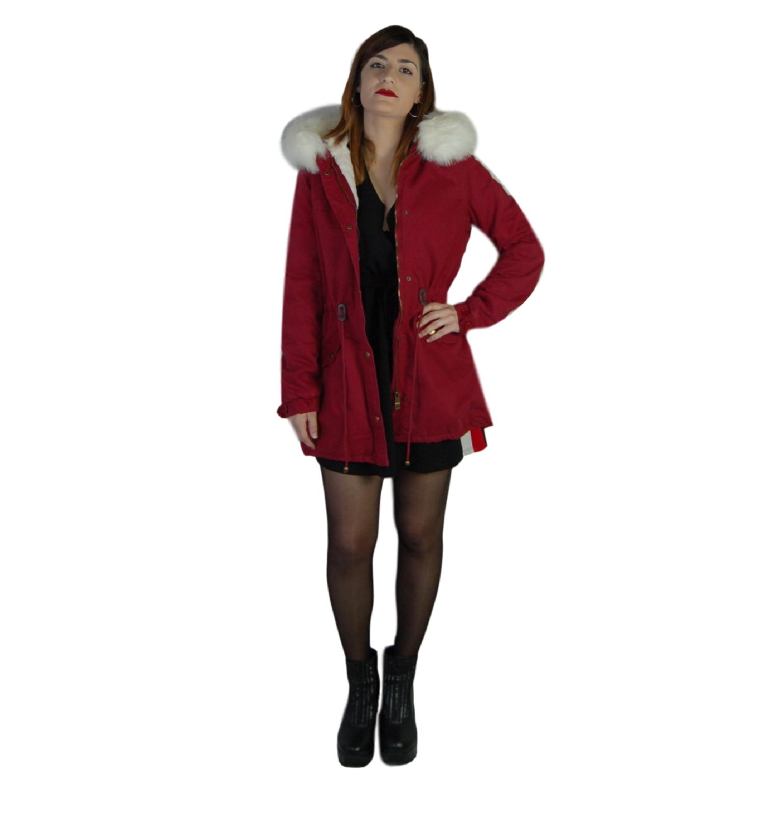 Parka-donna-Invernale-Giubbotto-cappuccio-pelliccia-Cappotto-Lungo-SLIM-fit-nero miniatura 15