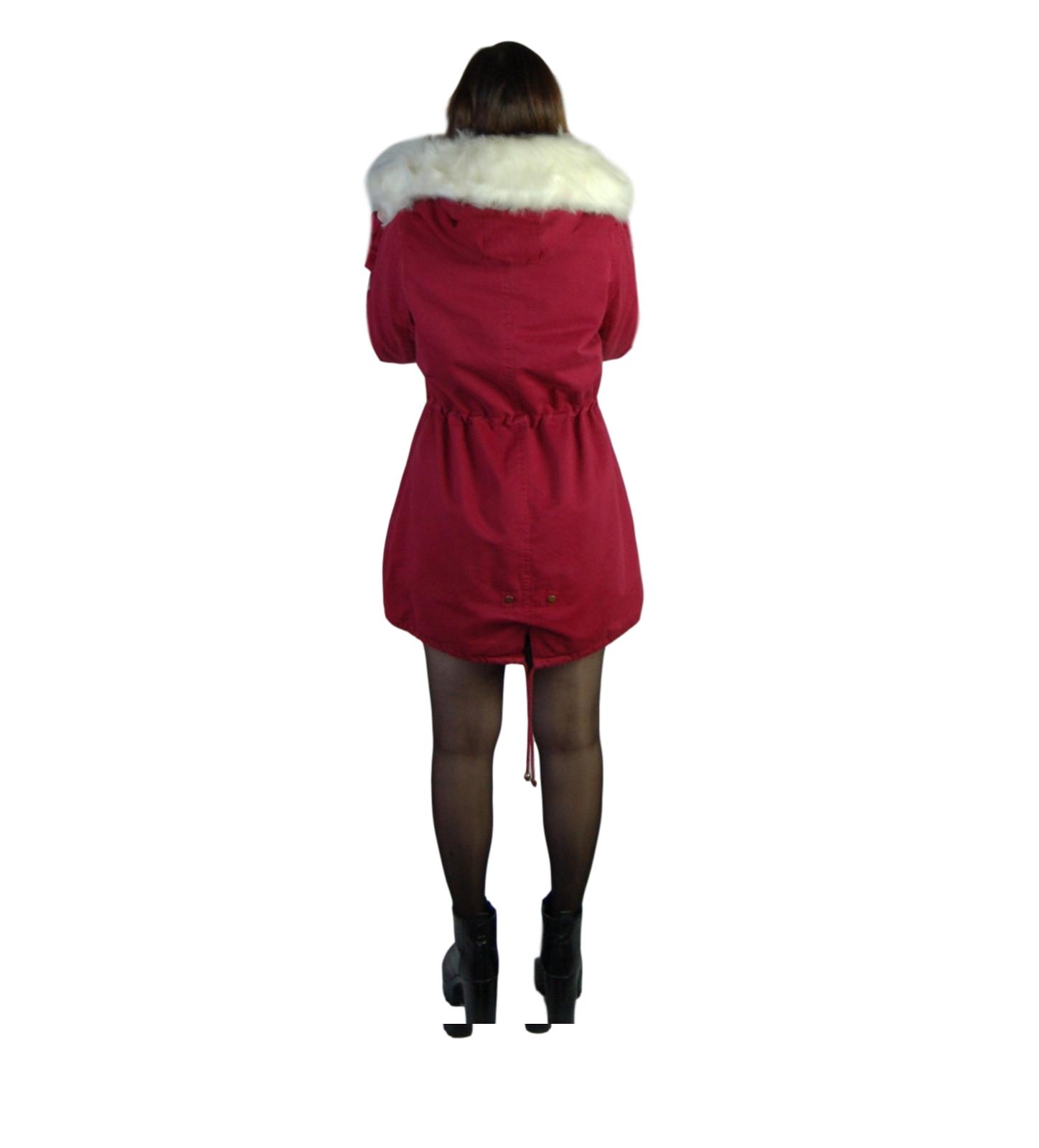 Parka-donna-Invernale-Giubbotto-cappuccio-pelliccia-Cappotto-Lungo-SLIM-fit-nero miniatura 16