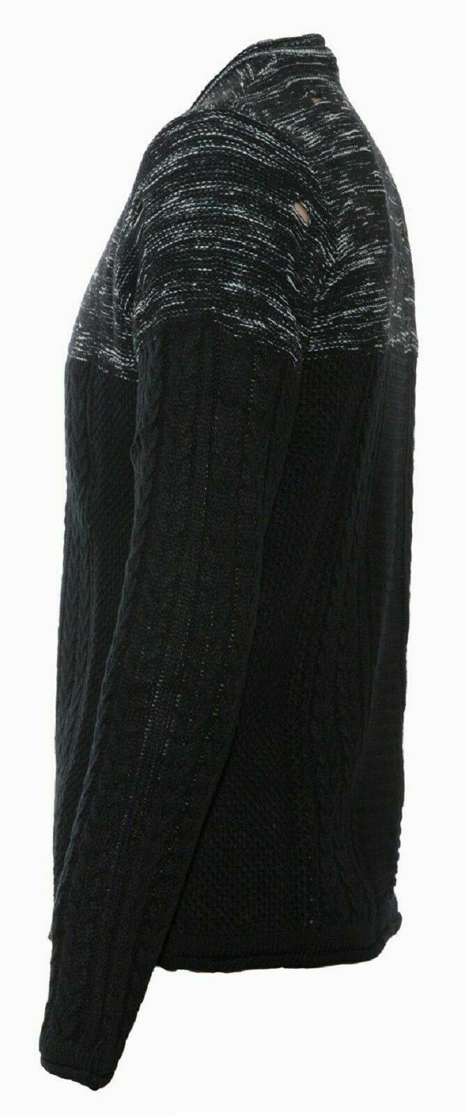 Maglione-uomo-Slim-Fit-Maglioncino-Invernale-Girocollo-Maglia-Cotone-Casual-Nero miniatura 13
