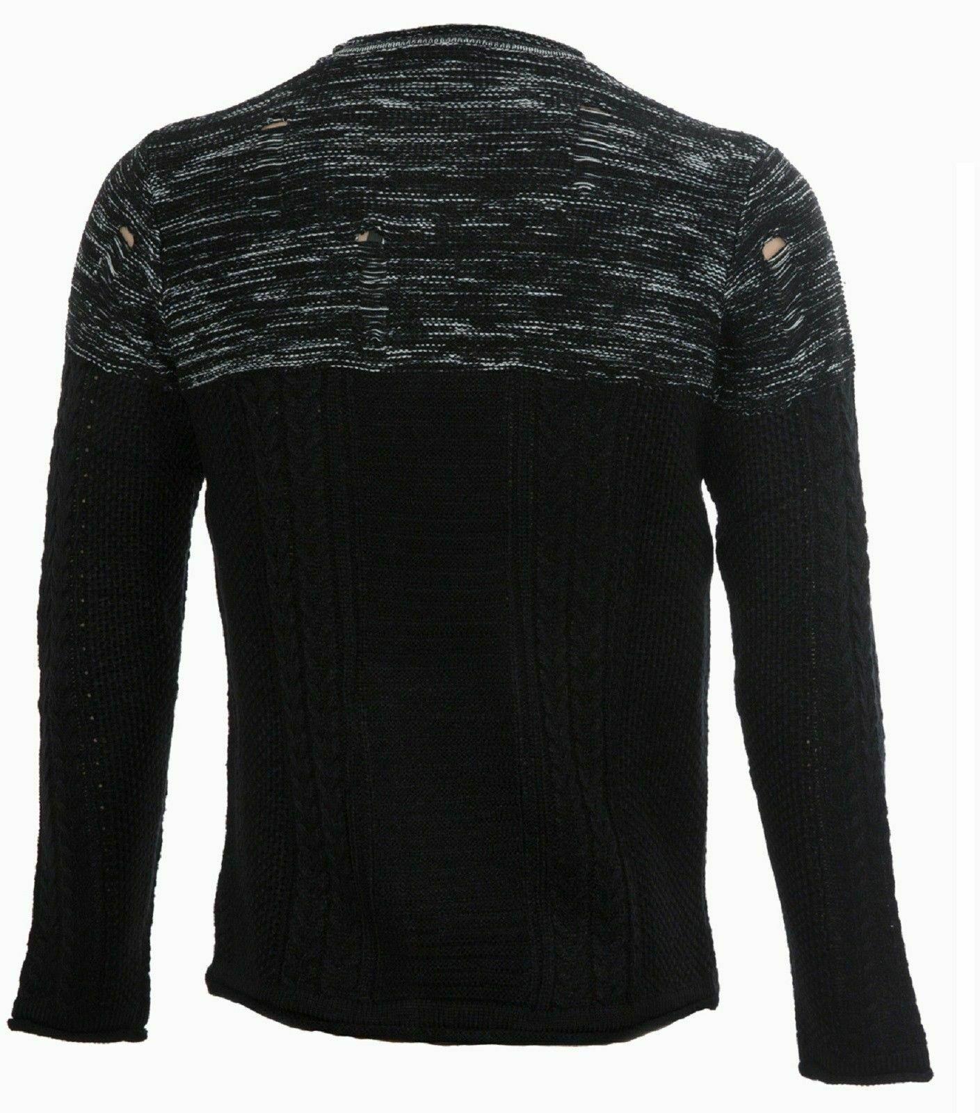 Maglione-uomo-Slim-Fit-Maglioncino-Invernale-Girocollo-Maglia-Cotone-Casual-Nero miniatura 14