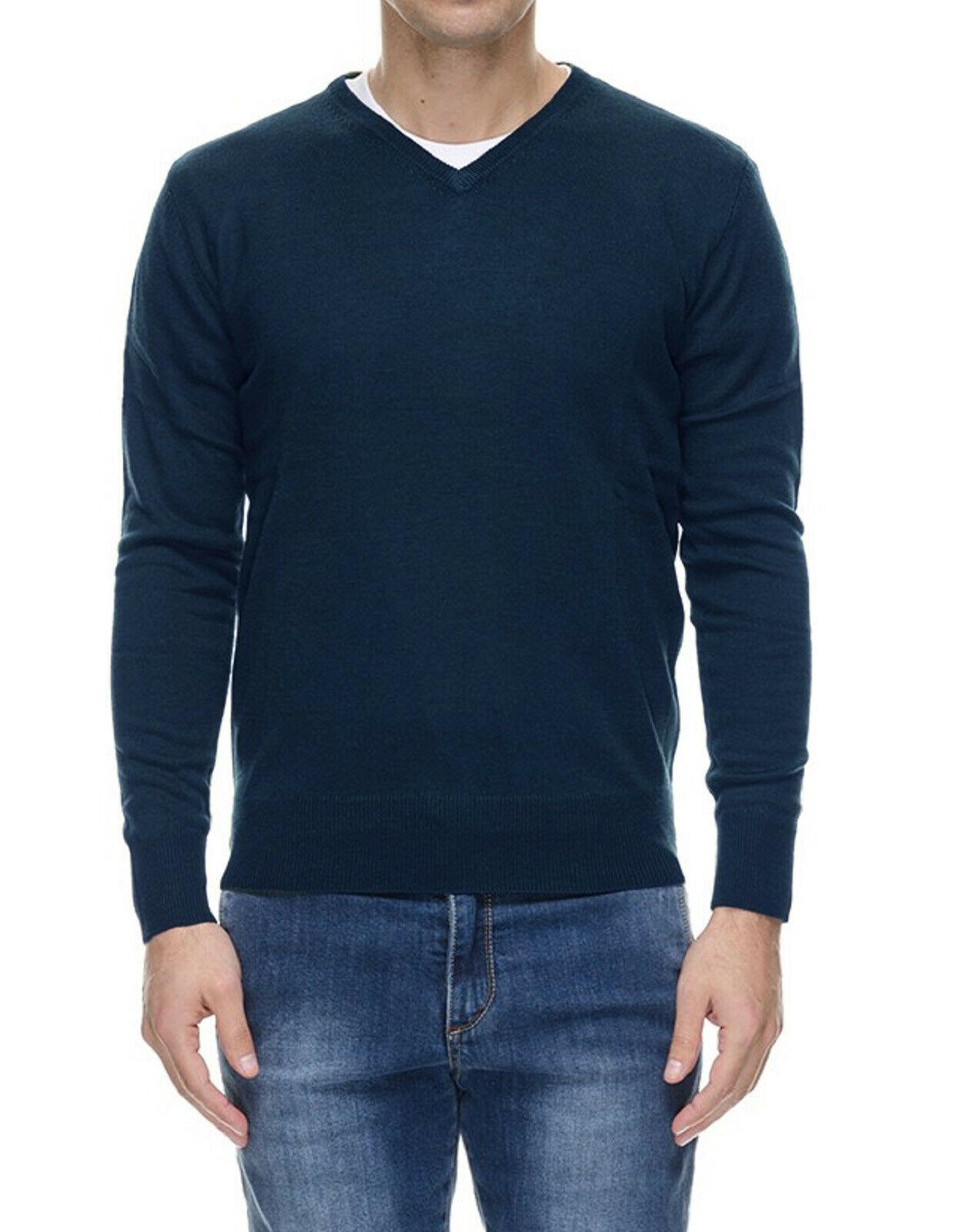 Maglione-Uomo-Scollo-a-V-Maglioncino-Invernale-Blu-Nero-Verde-Grigio-Maglia-Slim miniatura 19