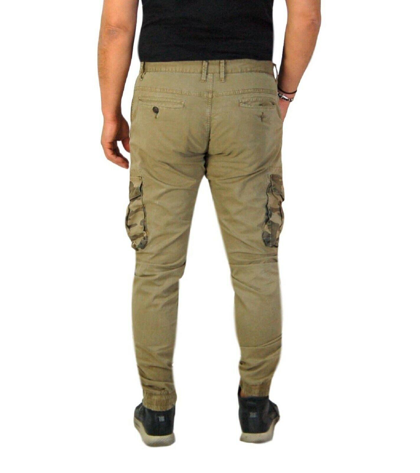 Pantalone-Uomo-Casual-Cargo-Con-Tasconi-Laterali-Mimetici-Multi-Tasche-Cotone-Ve miniatura 10