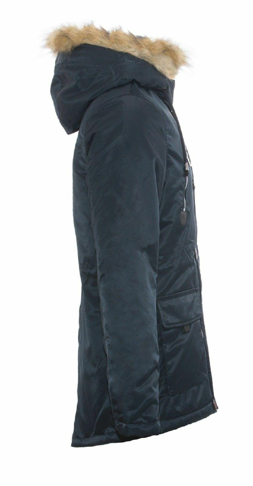 Parka-Uomo-Invernale-Giubbotto-Canadian-Pelliccia-Cappuccio-Blu-Verde miniatura 17