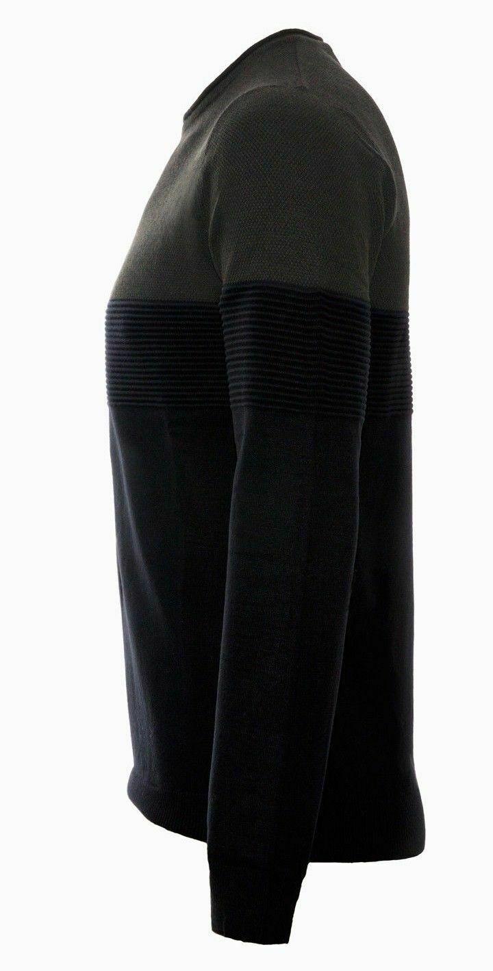 Maglione-uomo-Slim-Fit-Maglioncino-Girocollo-Cardigan-Casual-Grigio-Nero miniatura 18