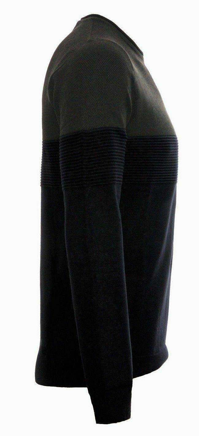Maglione-uomo-Slim-Fit-Maglioncino-Girocollo-Cardigan-Casual-Grigio-Nero miniatura 19