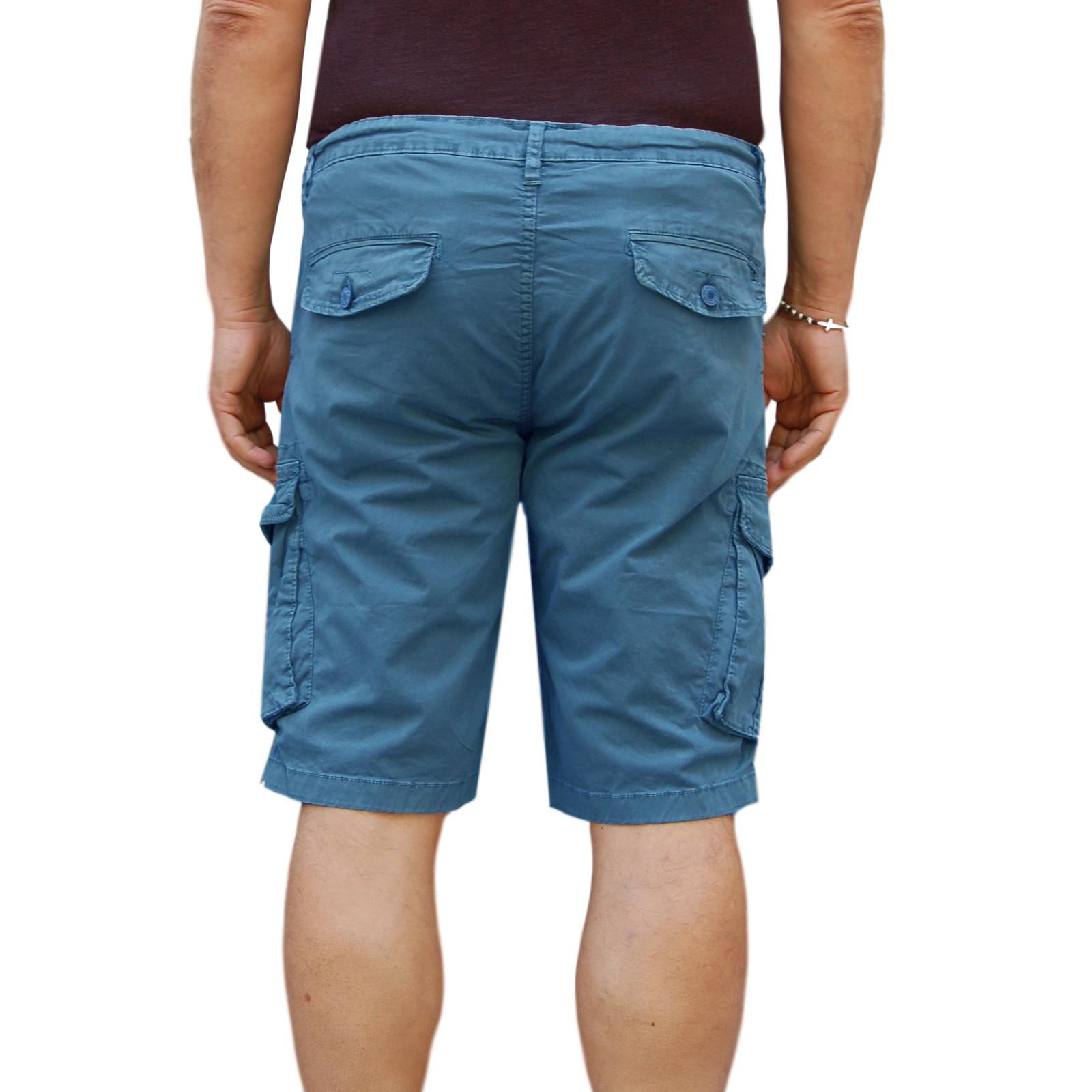 Bermuda-Uomo-Cargo-Pantalone-corto-Cotone-Tasconi-Laterali-Shorts-Casual-Nero miniatura 14