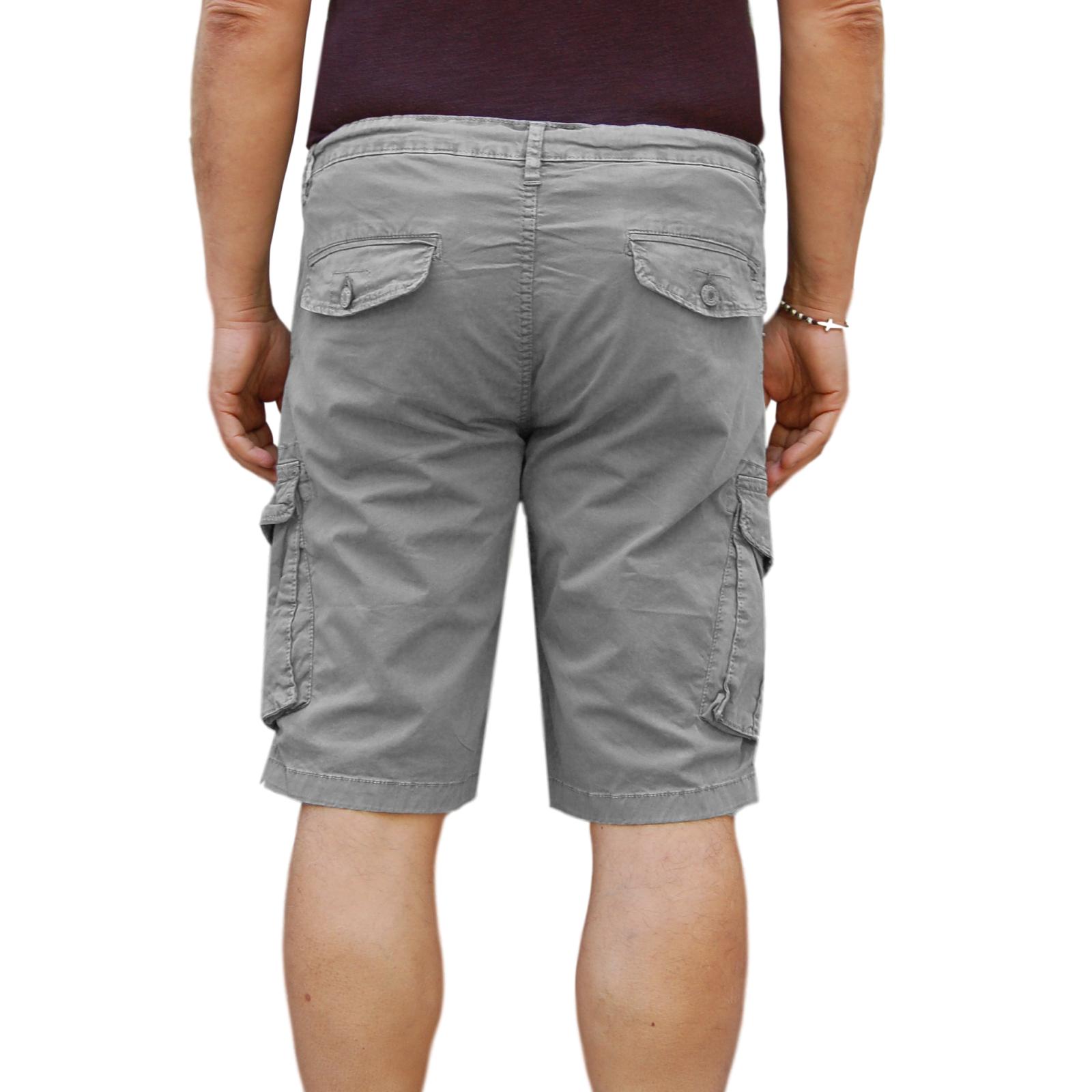 Bermuda-Uomo-Cargo-Pantalone-corto-Cotone-Tasconi-Laterali-Shorts-Casual-Nero miniatura 16