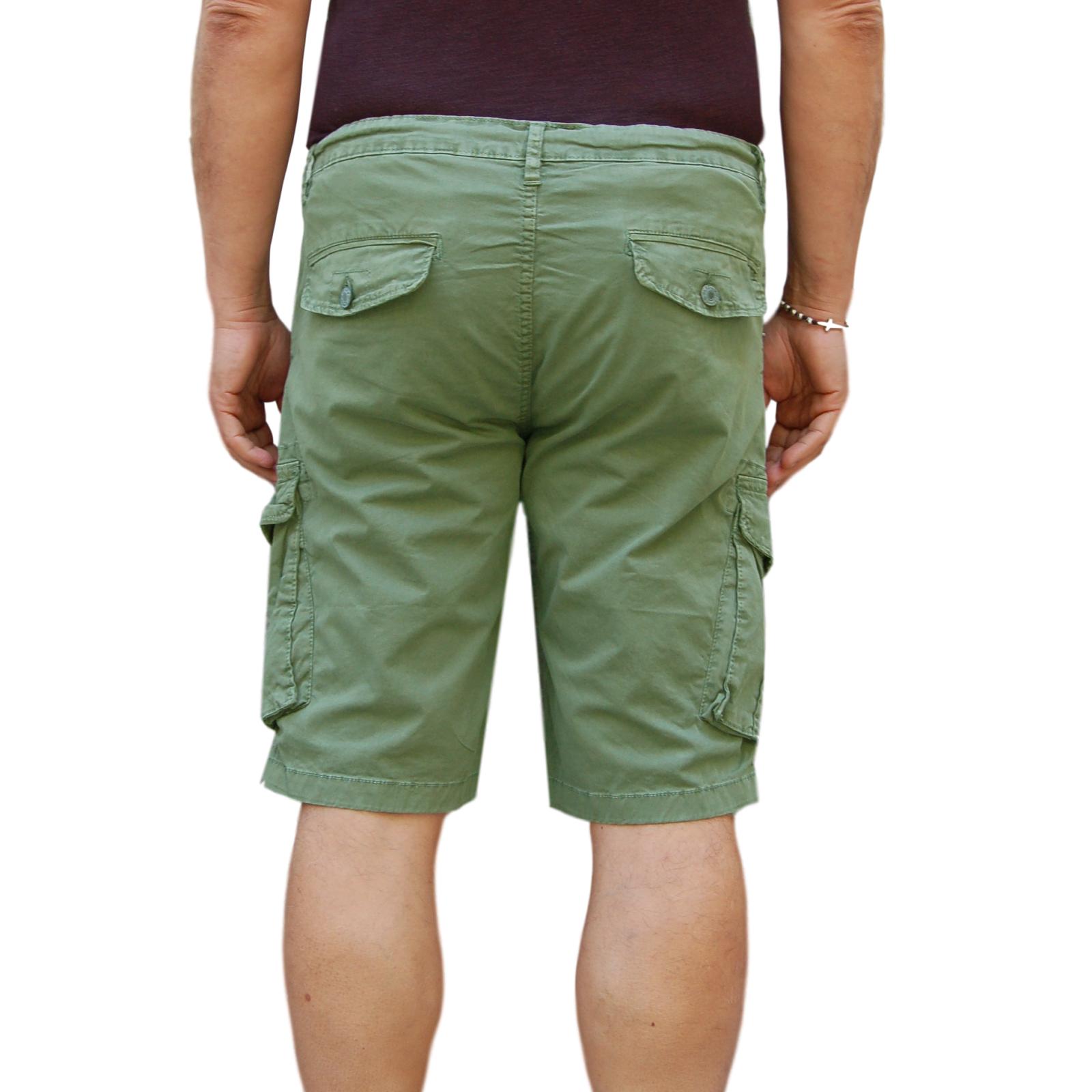 Bermuda-Uomo-Cargo-Pantalone-corto-Cotone-Tasconi-Laterali-Shorts-Casual-Nero miniatura 18
