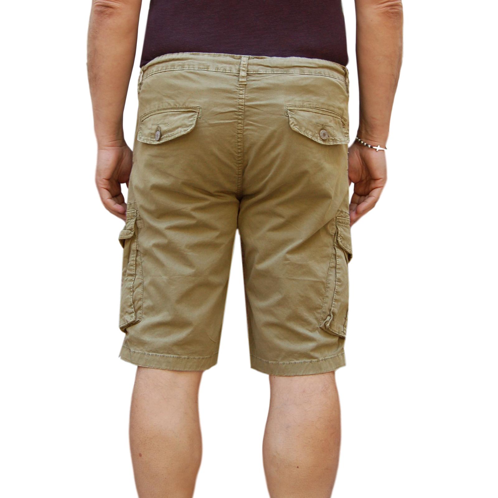 Bermuda-Uomo-Cargo-Pantalone-corto-Cotone-Tasconi-Laterali-Shorts-Casual-Nero miniatura 21