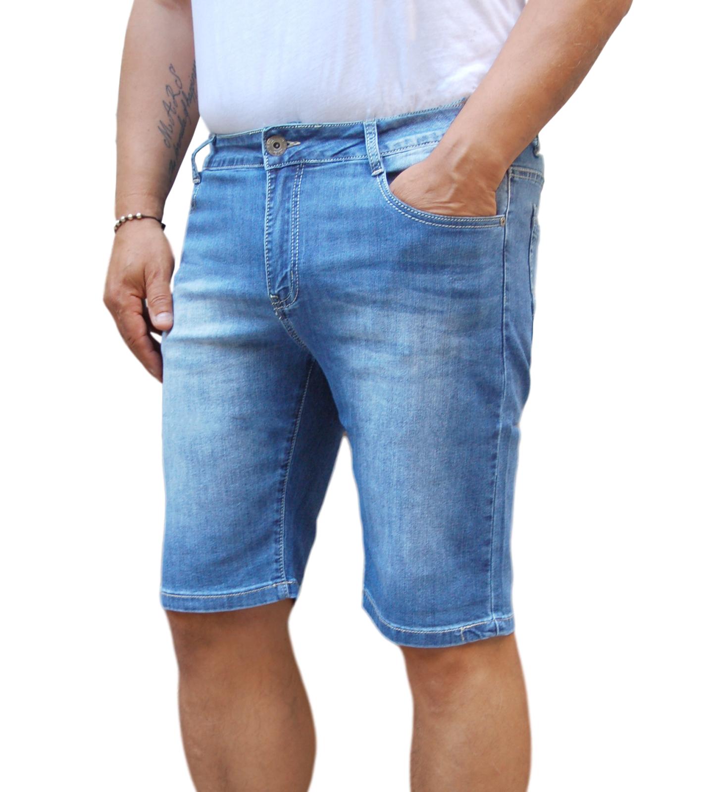 Jeans Pantalone Corto Pantaloncino Bermuda Shorts Uomo Denim Vita Bassa Scolorit