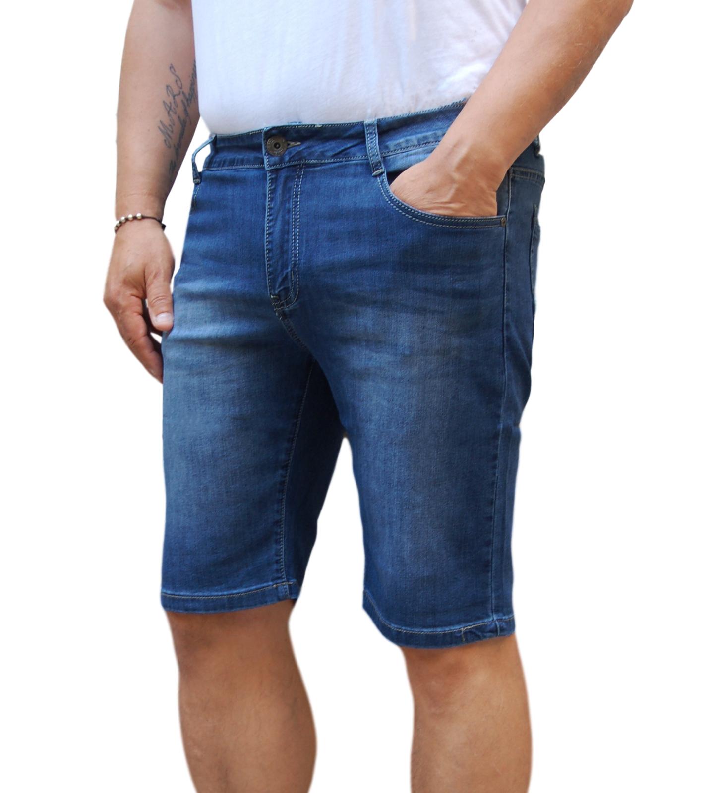 Bermuda-Uomo-Jeans-Denim-Corto-Tasche-America-Pantaloncino-Blu-Shorts-Casual-t miniatura 15
