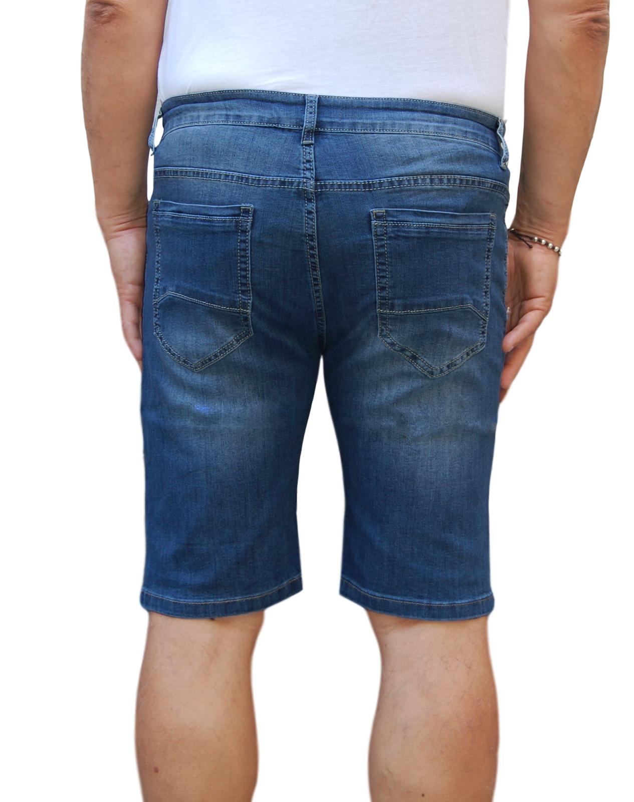 Bermuda-Uomo-Jeans-Denim-Corto-Tasche-America-Pantaloncino-Blu-Shorts-Casual-t miniatura 16
