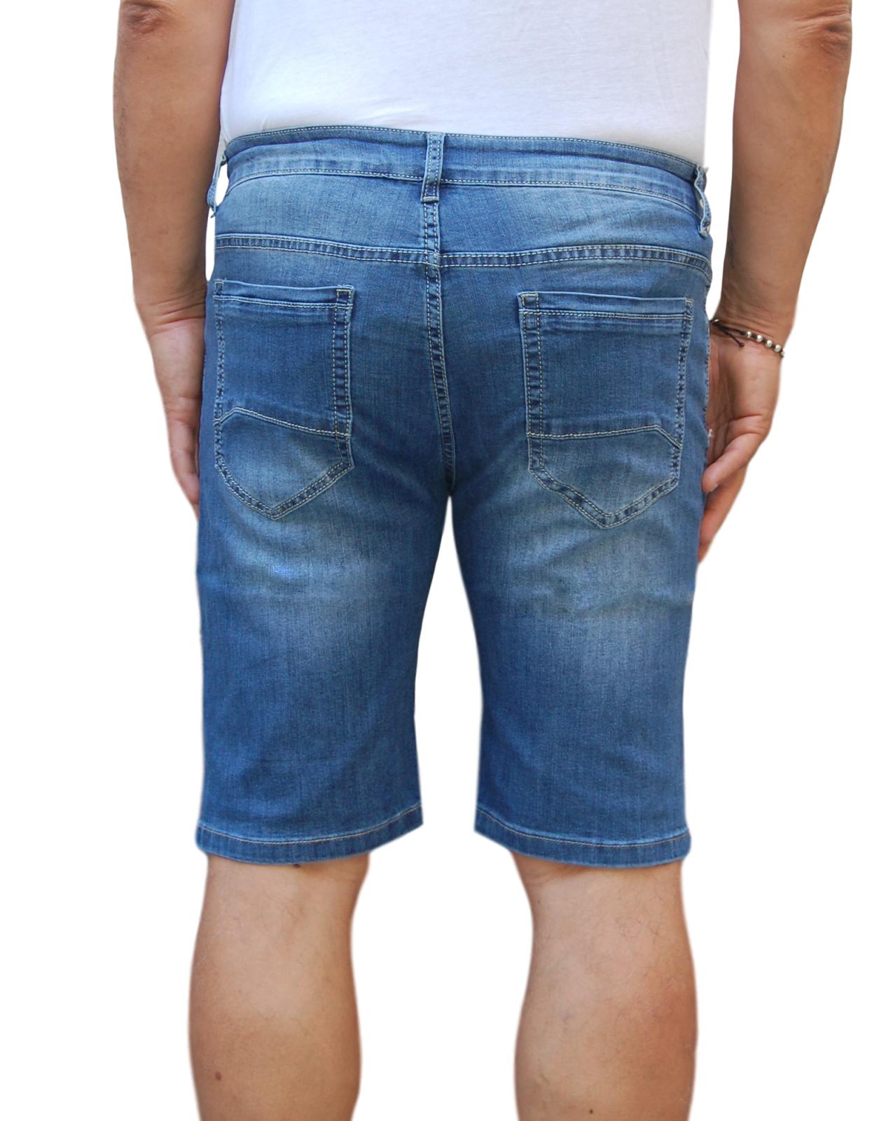 Bermuda-Uomo-Jeans-Denim-Corto-Tasche-America-Pantaloncino-Blu-Shorts-Casual-t miniatura 19