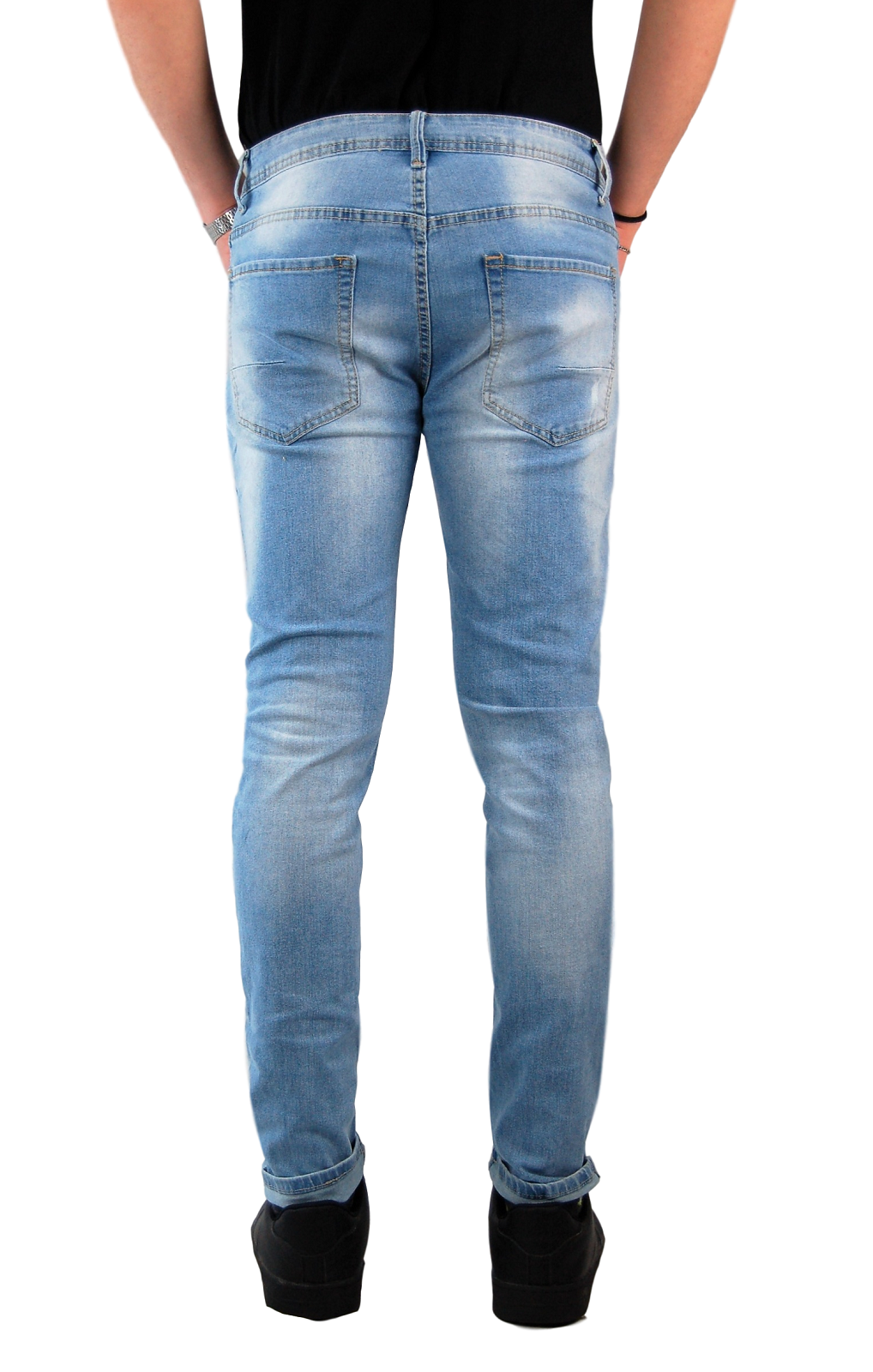 Jeans-Uomo-Slim-fit-Strappati-Pantaloni-Elasticizzati-Casual-Denim-Blu miniatura 14