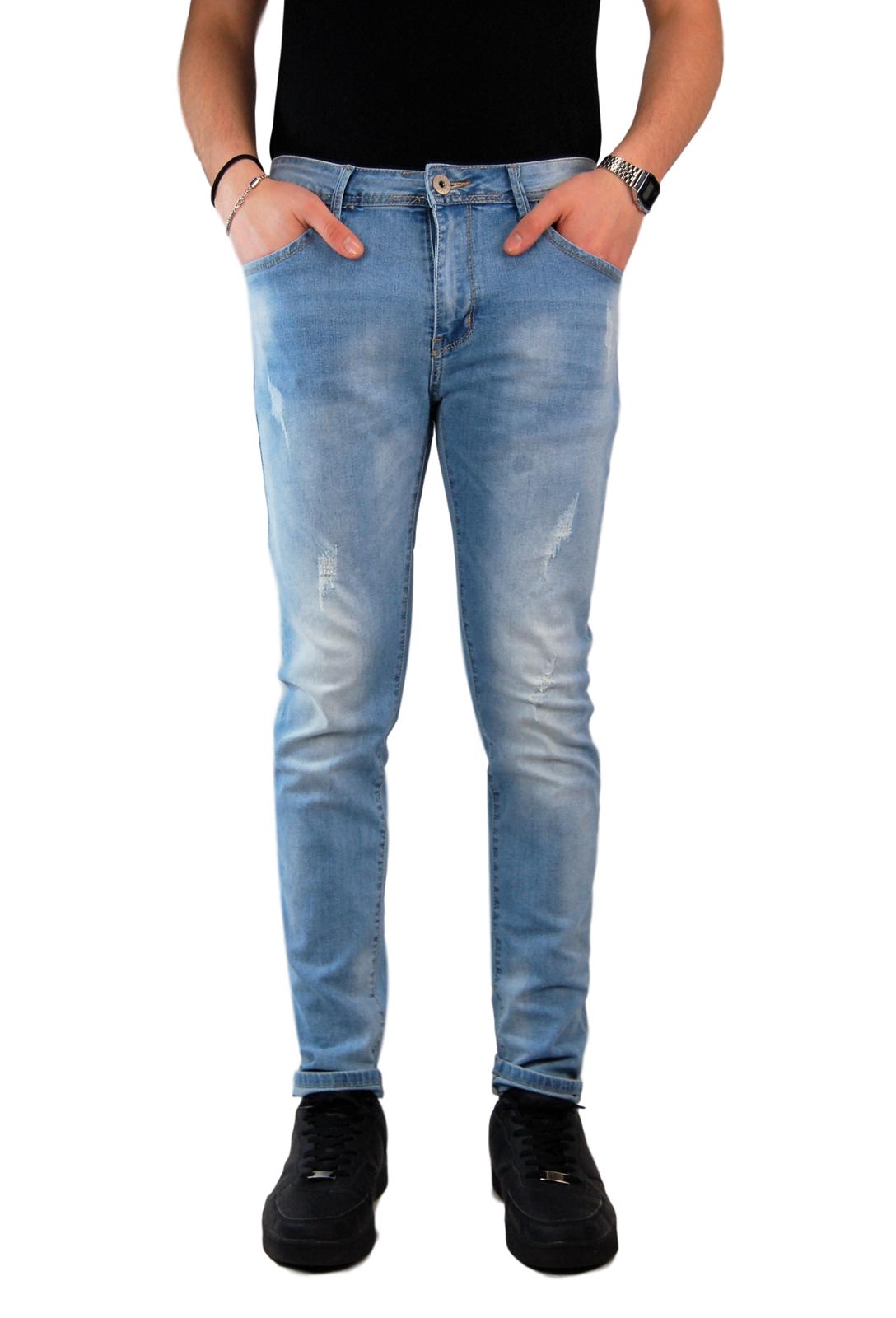 Jeans-Uomo-Slim-fit-Strappati-Pantaloni-Elasticizzati-Casual-Denim-Blu miniatura 12