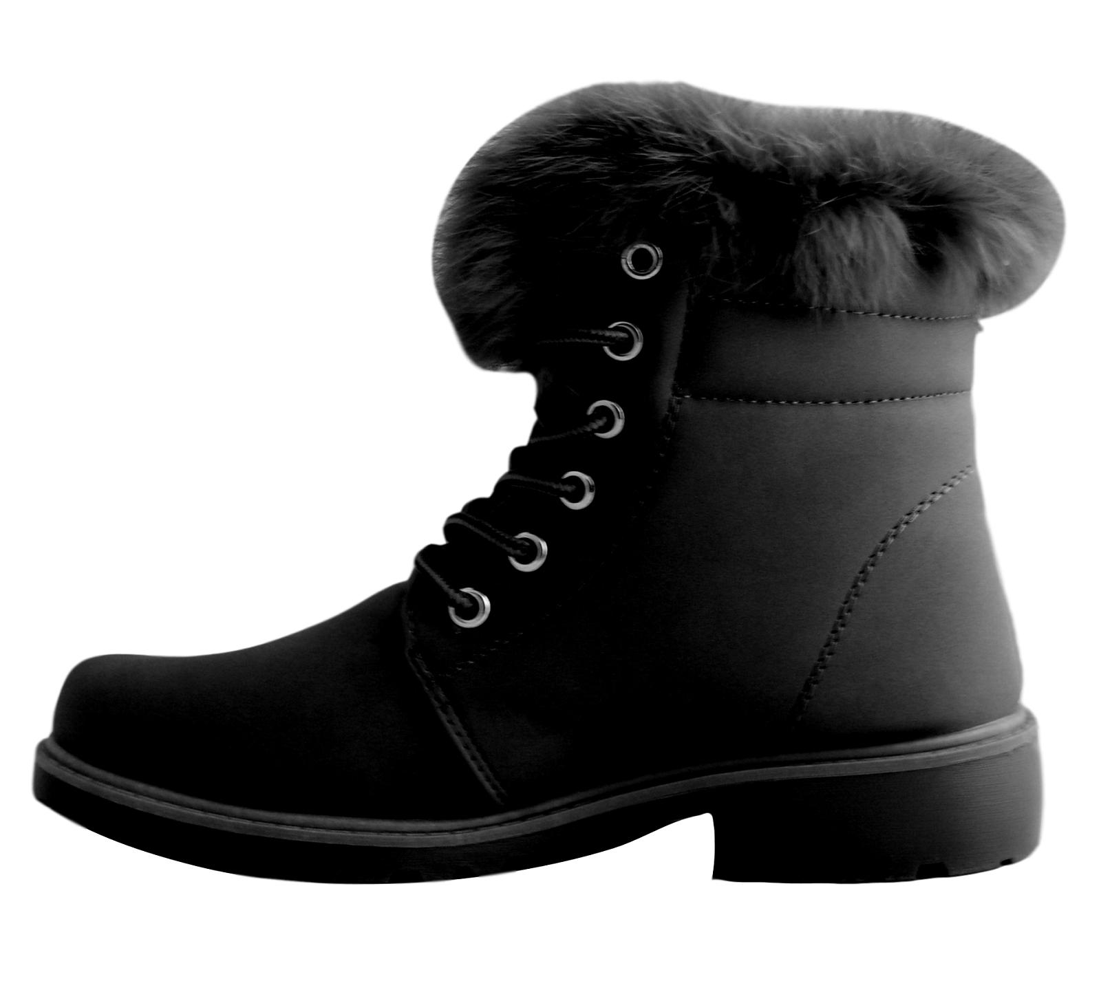 Scarpe-Donna-Invernali-Stivaletti-Pelle-Stivali-Imbottiti-Anfibi-Caldi-Scarponi miniatura 13