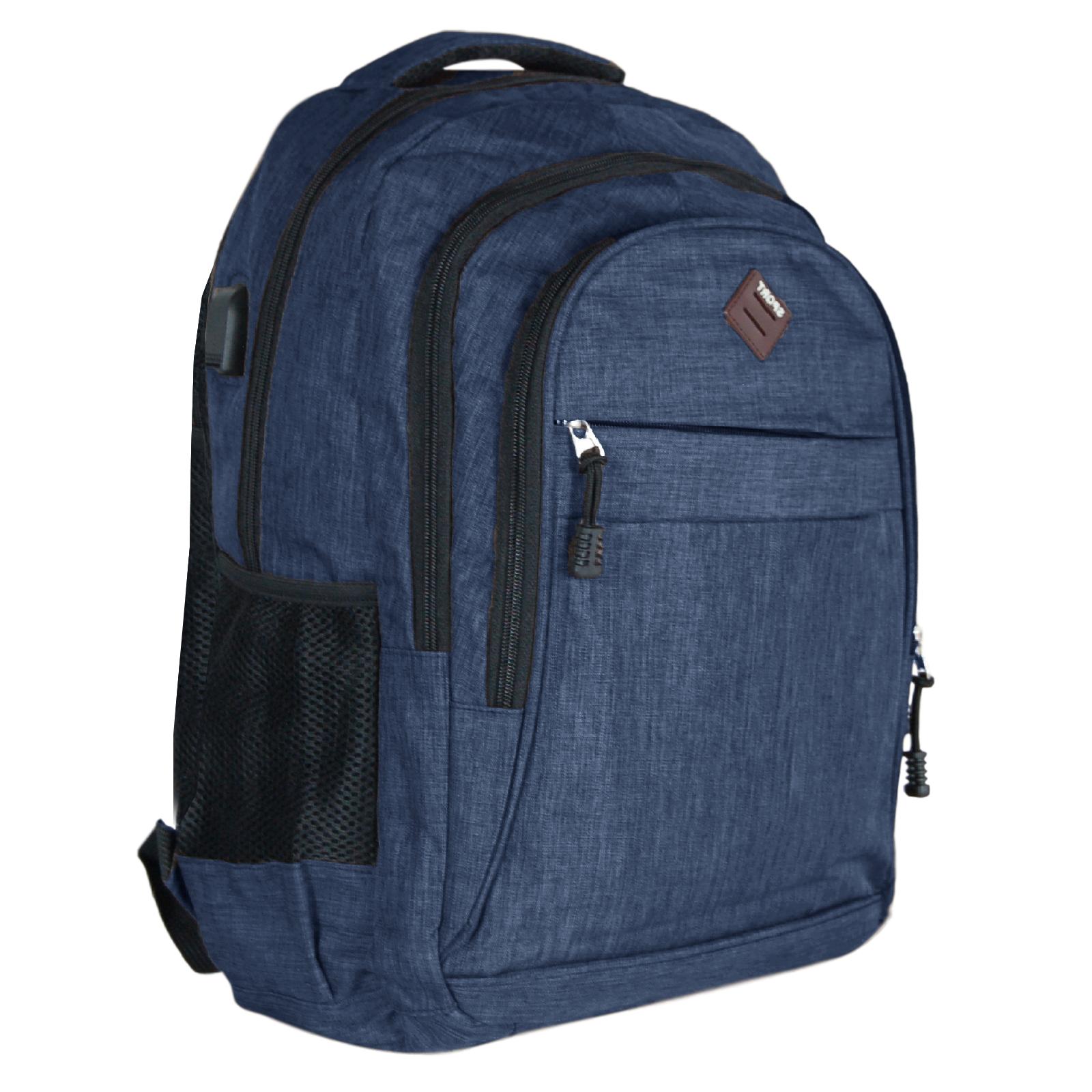 Zaino-Uomo-Donna-Porta-USB-Multitasche-Viaggio-Rosso-Blu-Nero-Grigio miniatura 18