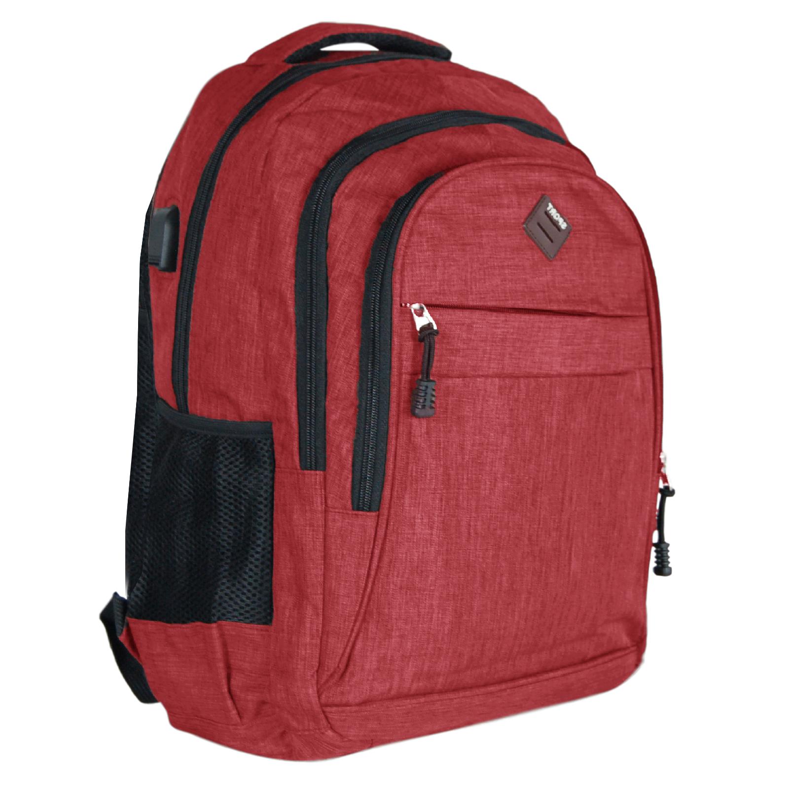 Zaino-Uomo-Donna-Porta-USB-Multitasche-Viaggio-Rosso-Blu-Nero-Grigio miniatura 30