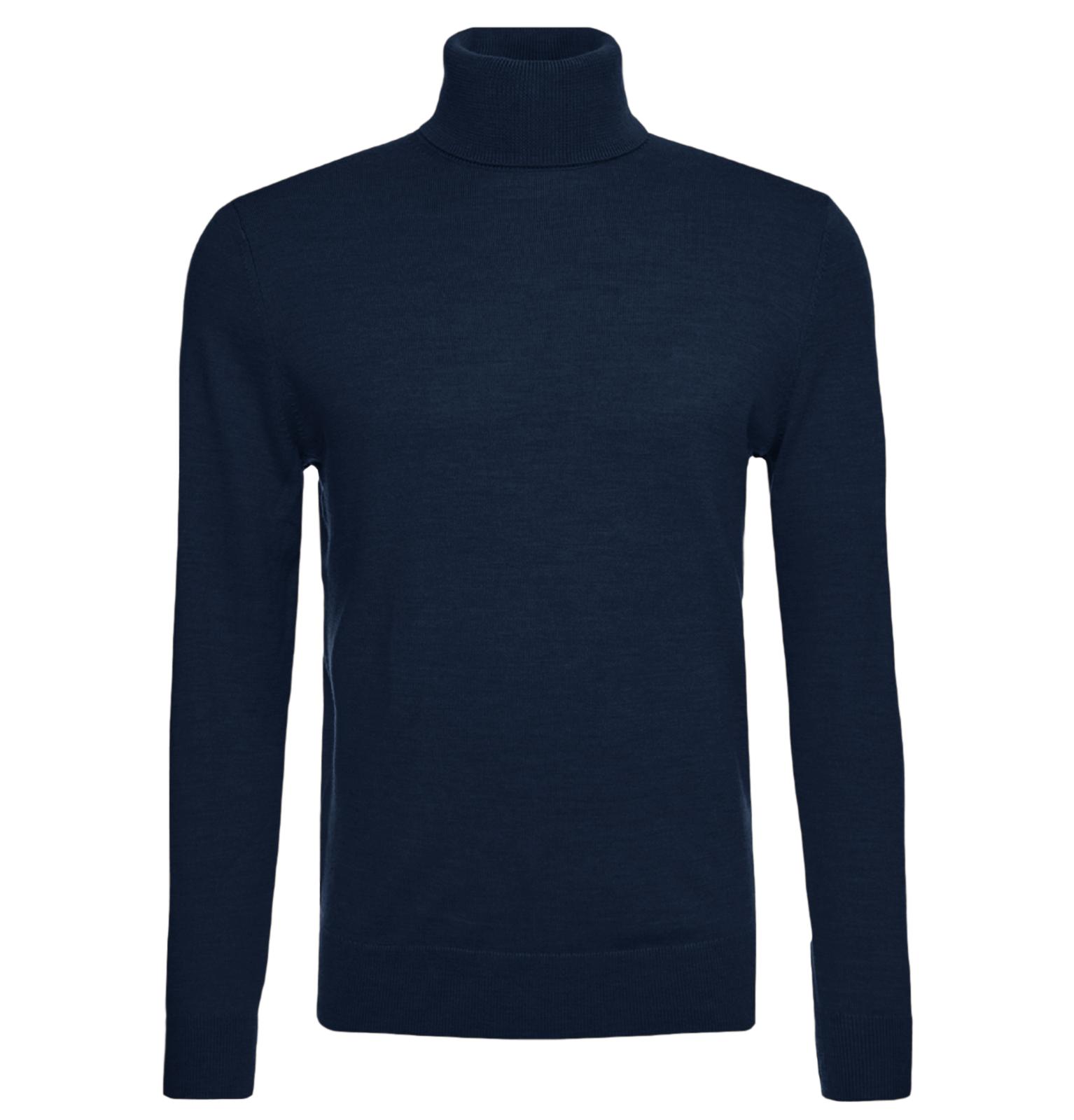 Maglione-Uomo-Collo-Alto-Lana-Slim-Fit-Maglia-Blu-verde-nero-Dolce-Vita miniatura 20