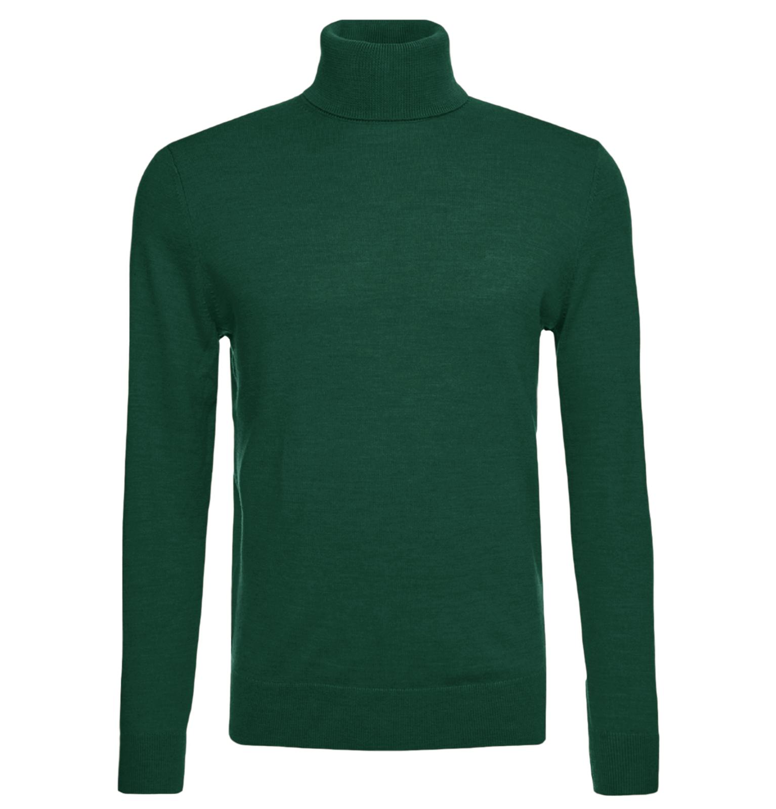 Maglione-Uomo-Collo-Alto-Lana-Slim-Fit-Maglia-Blu-verde-nero-Dolce-Vita miniatura 14
