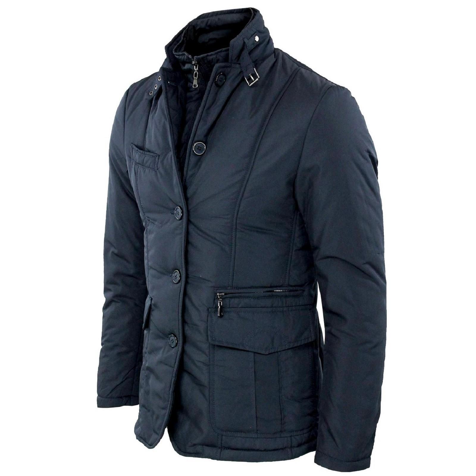 Giubbotto-Uomo-Invernale-Slim-Fit-Giacca-Elegante-Blu-Nero-Giubbino-Sartoriale-L miniatura 14
