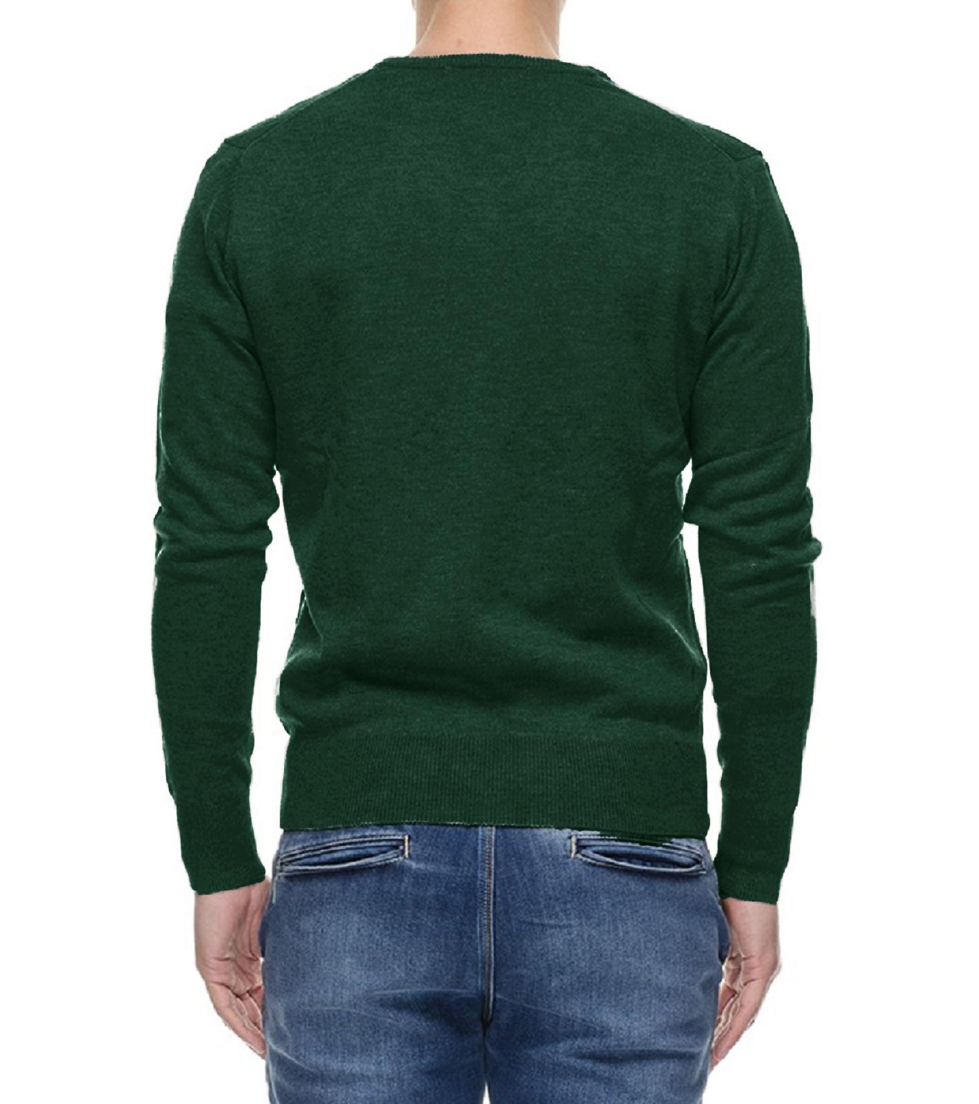 Maglione-Uomo-Scollo-a-V-Maglioncino-Slim-Fit-Maglia-Blu-Nero-Verde-Grigio miniatura 16