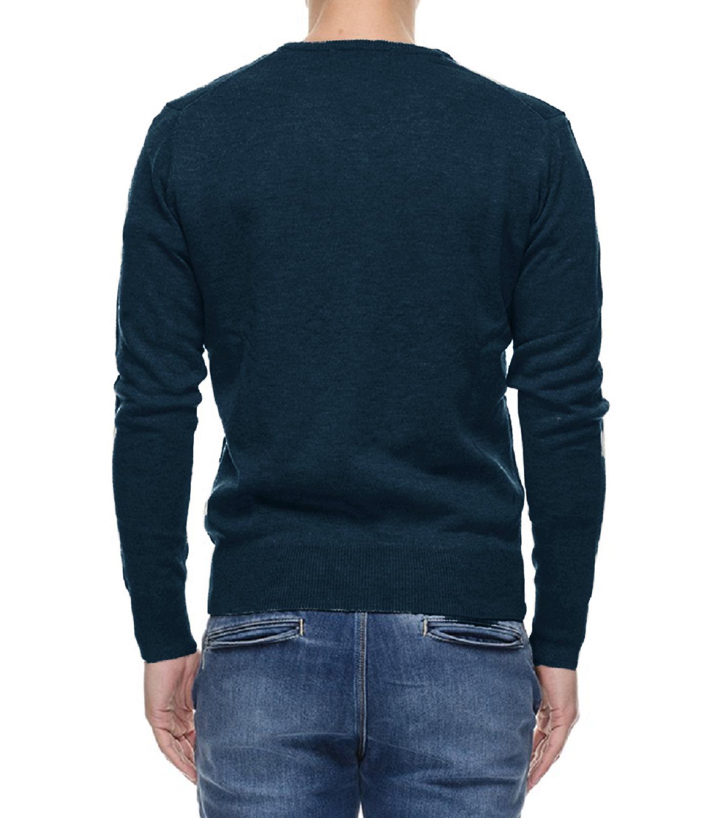 Maglione-Uomo-Scollo-a-V-Maglioncino-Slim-Fit-Maglia-Blu-Nero-Verde-Grigio miniatura 19
