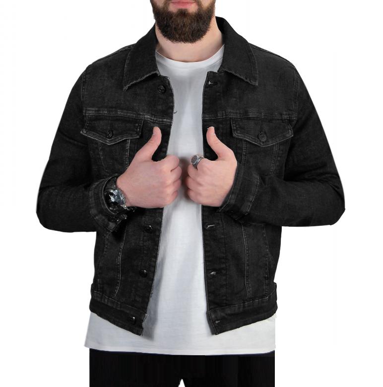 Giubbino-Uomo-Jeans-Giubbotto-Nero-Vintage-Giacca-Slim-fit-Denim-Casual miniatura 7